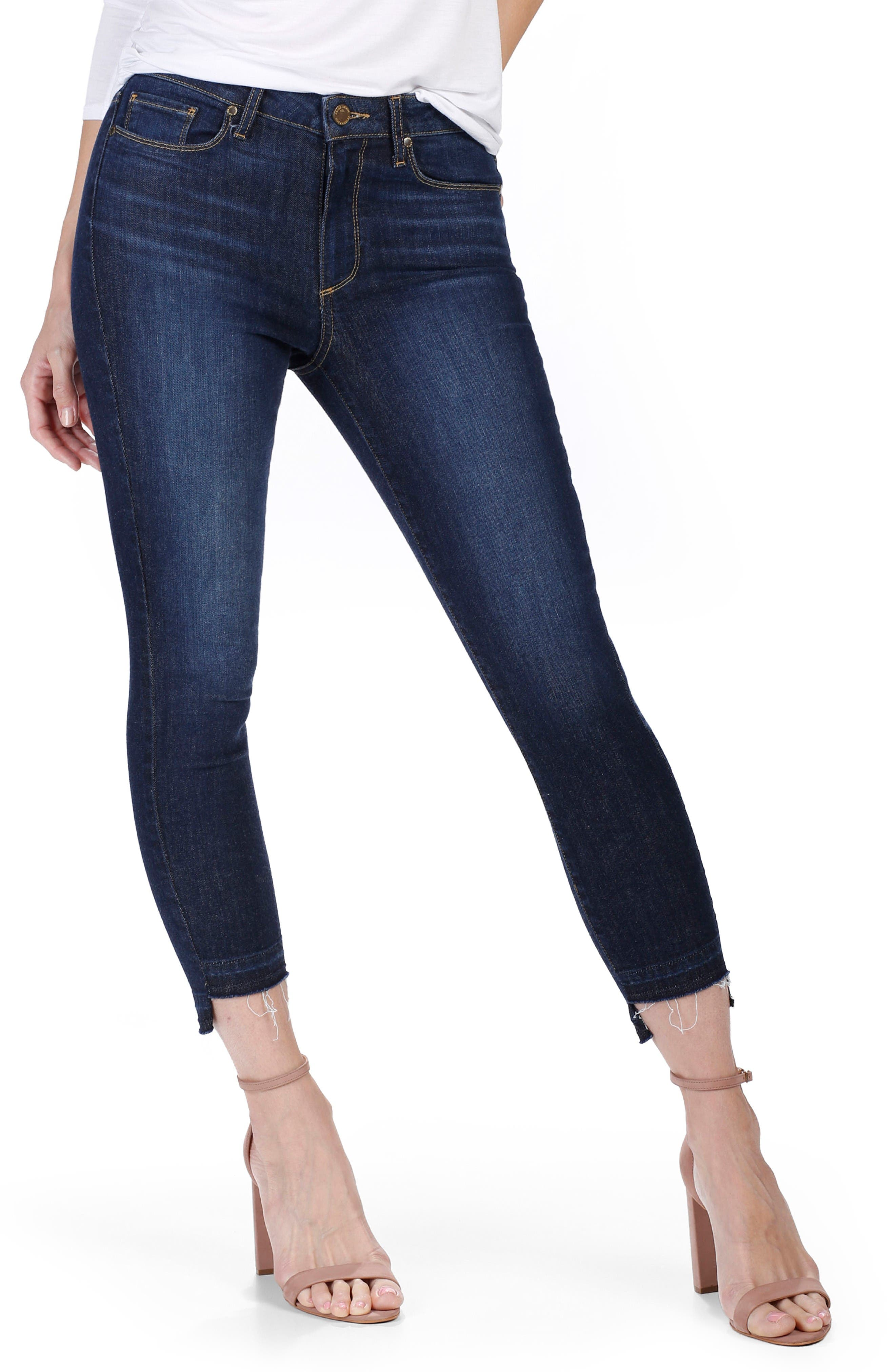 PAIGE Hoxton High Waist Crop Ultra Skinny Jeans (Emery)