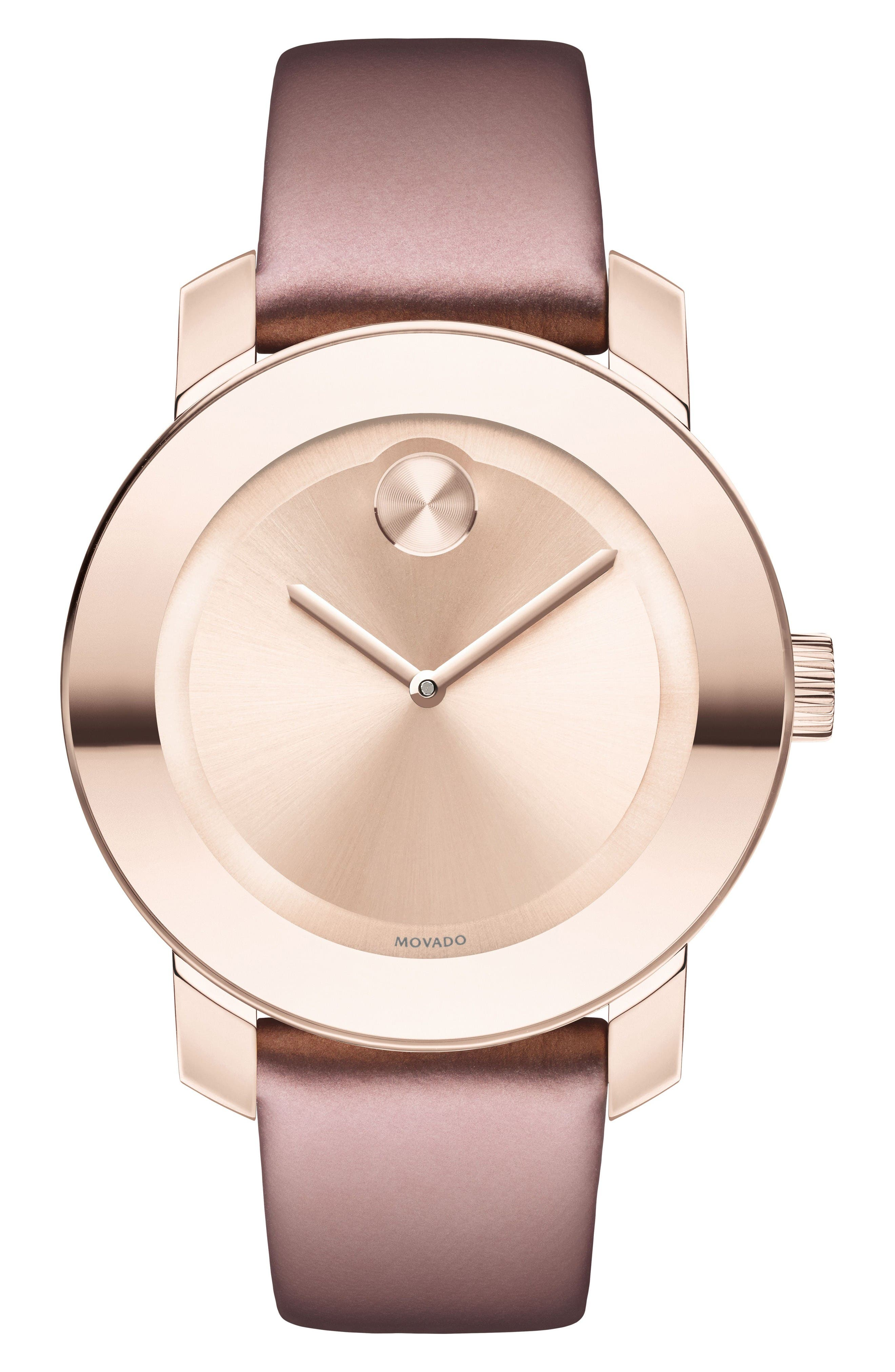 Bold Leather Strap Watch, 36mm,                         Main,                         color, Pink/ Rose Gold