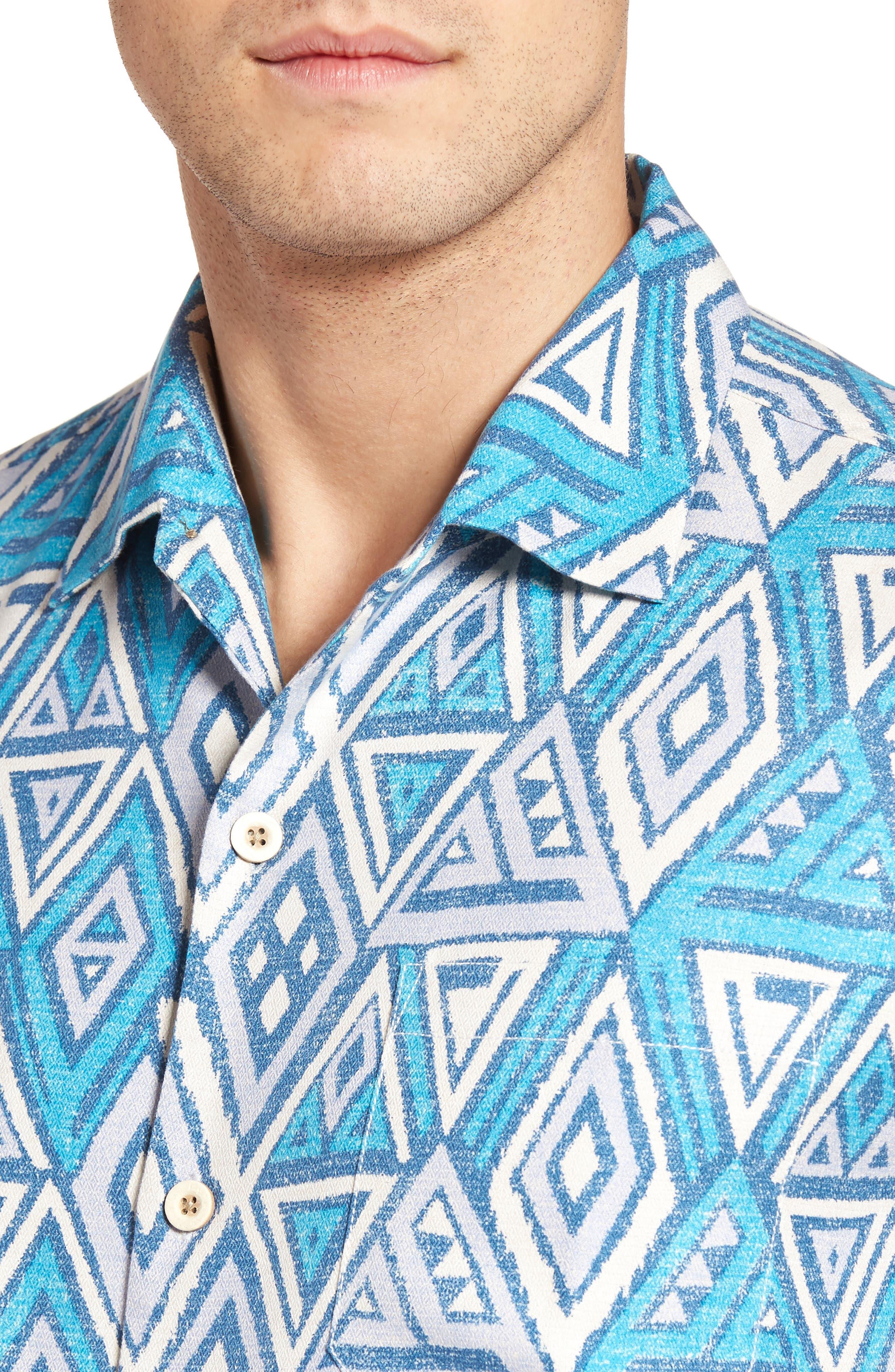 Alternate Image 4  - Tommy Bahama Trio Geo Silk Blend Camp Shirt