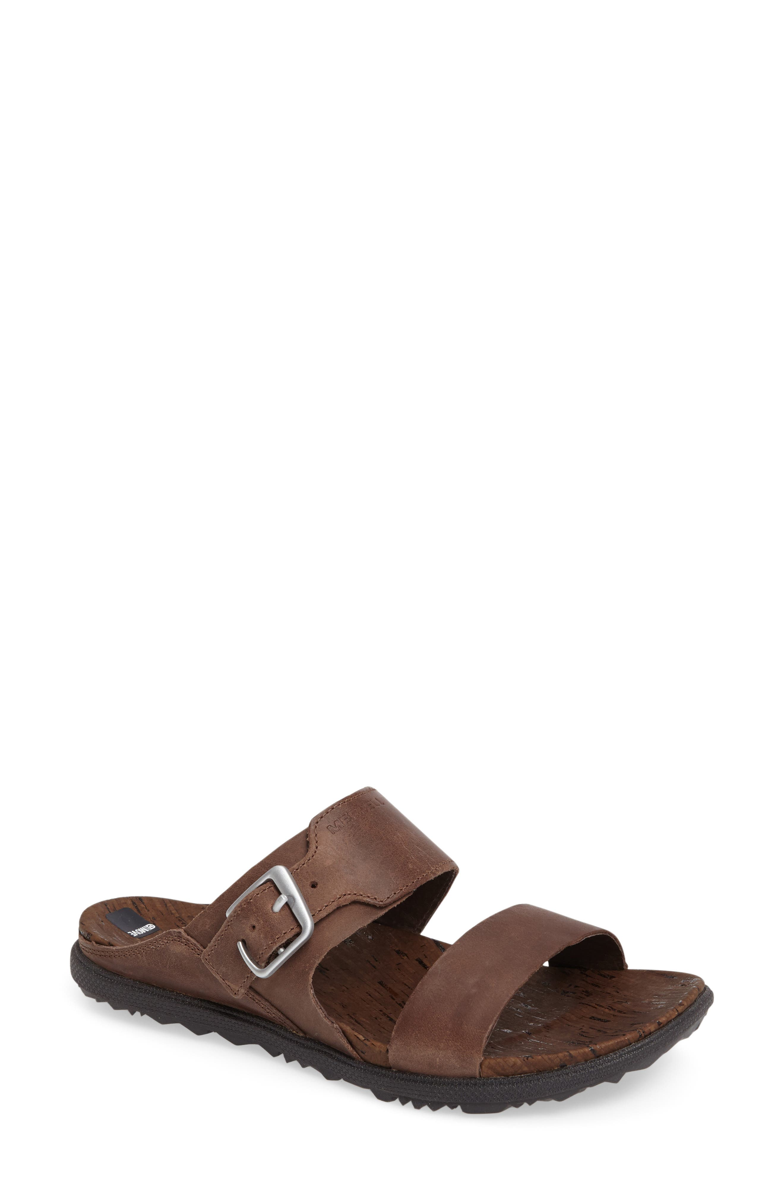 Around Town Slide Sandal,                             Main thumbnail 1, color,                             Brown Leather