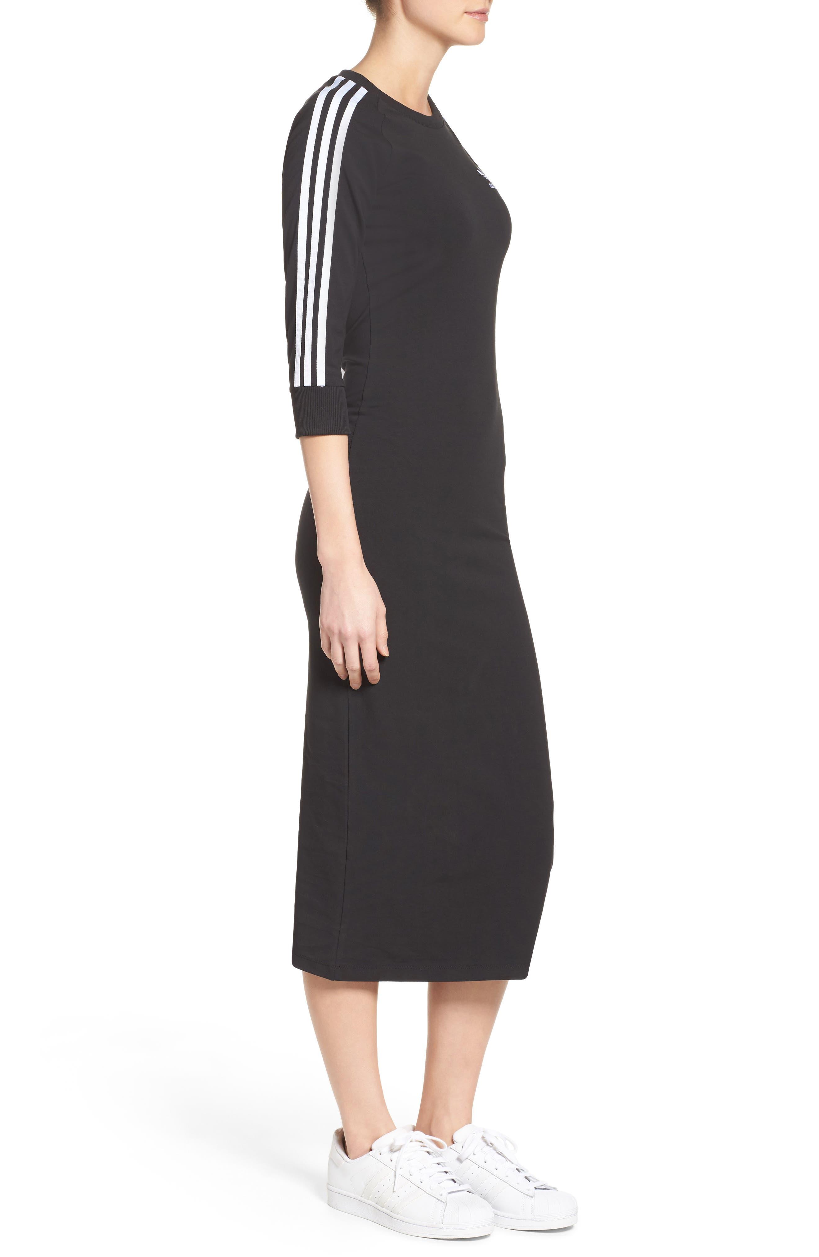 Originals 3-Stripes Dress,                             Alternate thumbnail 3, color,                             Black