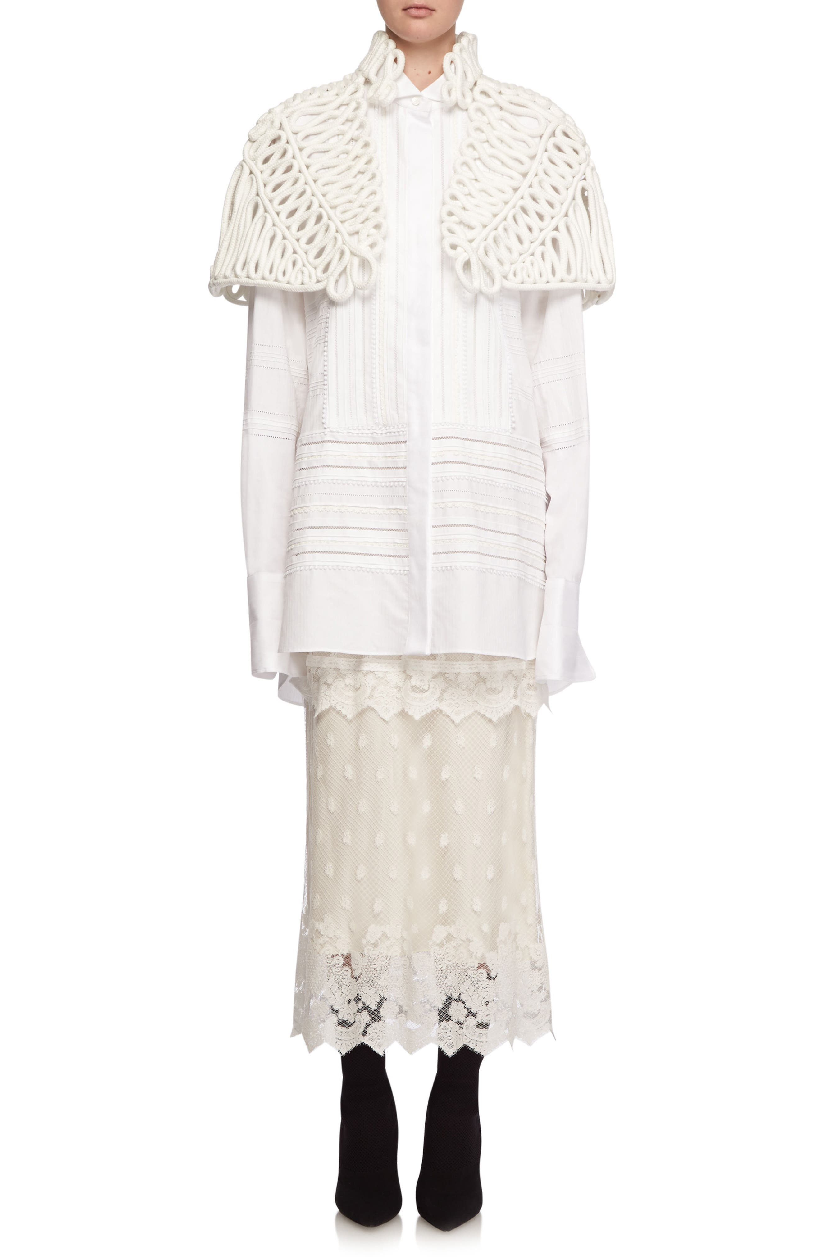 Hand Looped Rope Cape,                             Alternate thumbnail 5, color,                             White