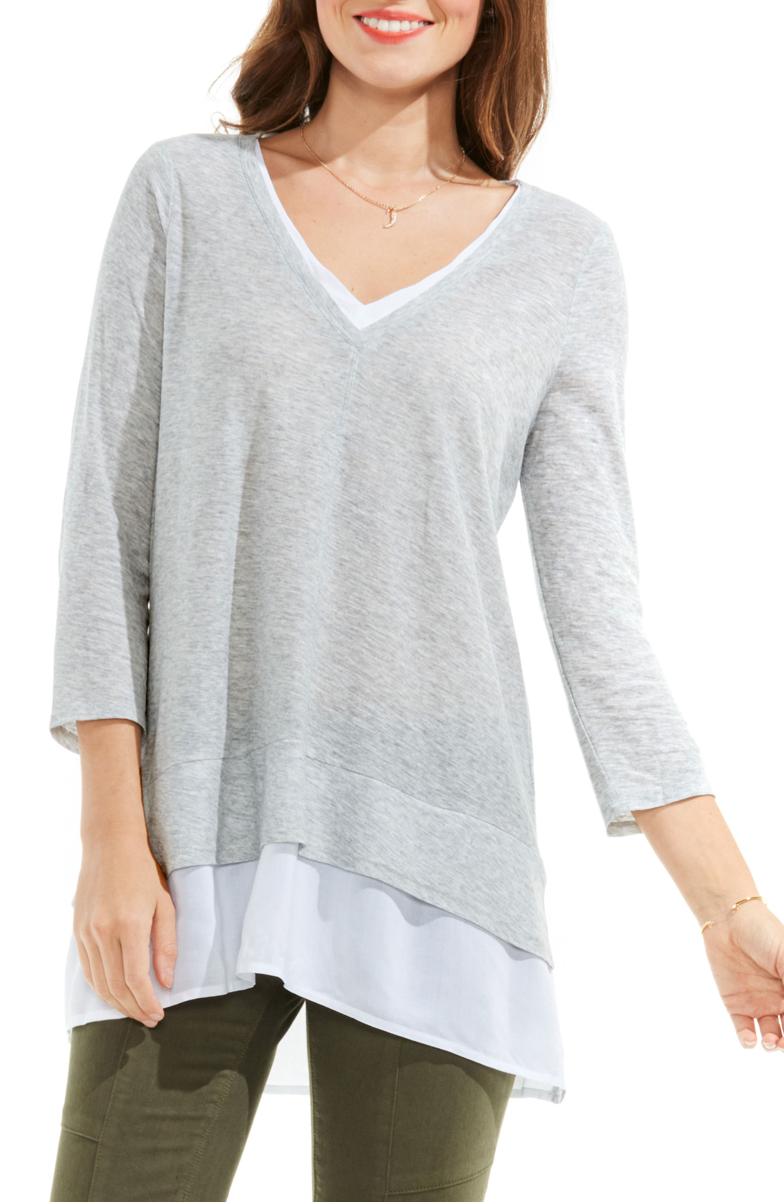 Two by Vince Camuto Mixed Media Tunic,                         Main,                         color, Grey Heather