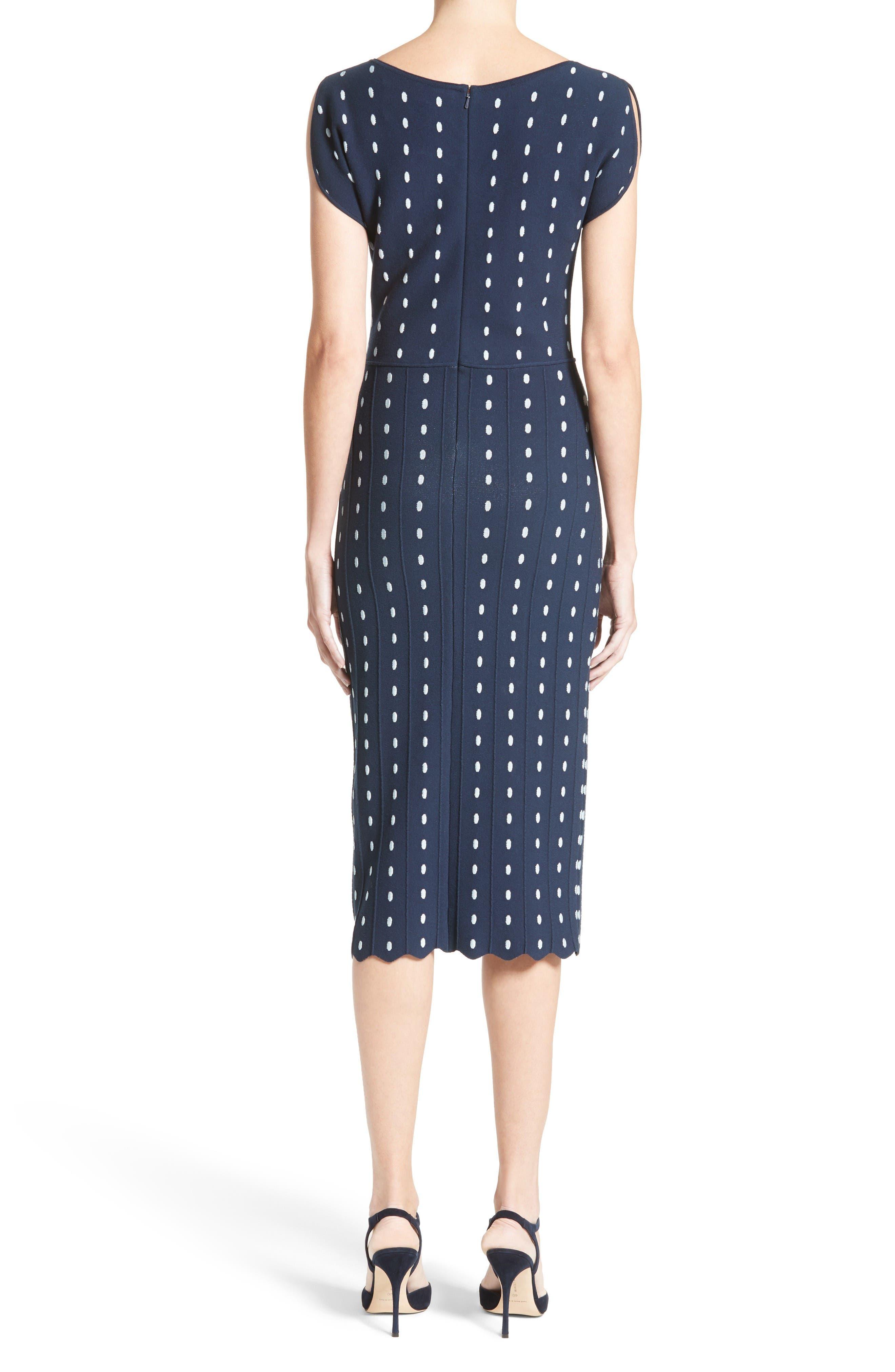 Dot Knit Sheath Dress,                             Alternate thumbnail 2, color,                             Navy/ Ice Blue