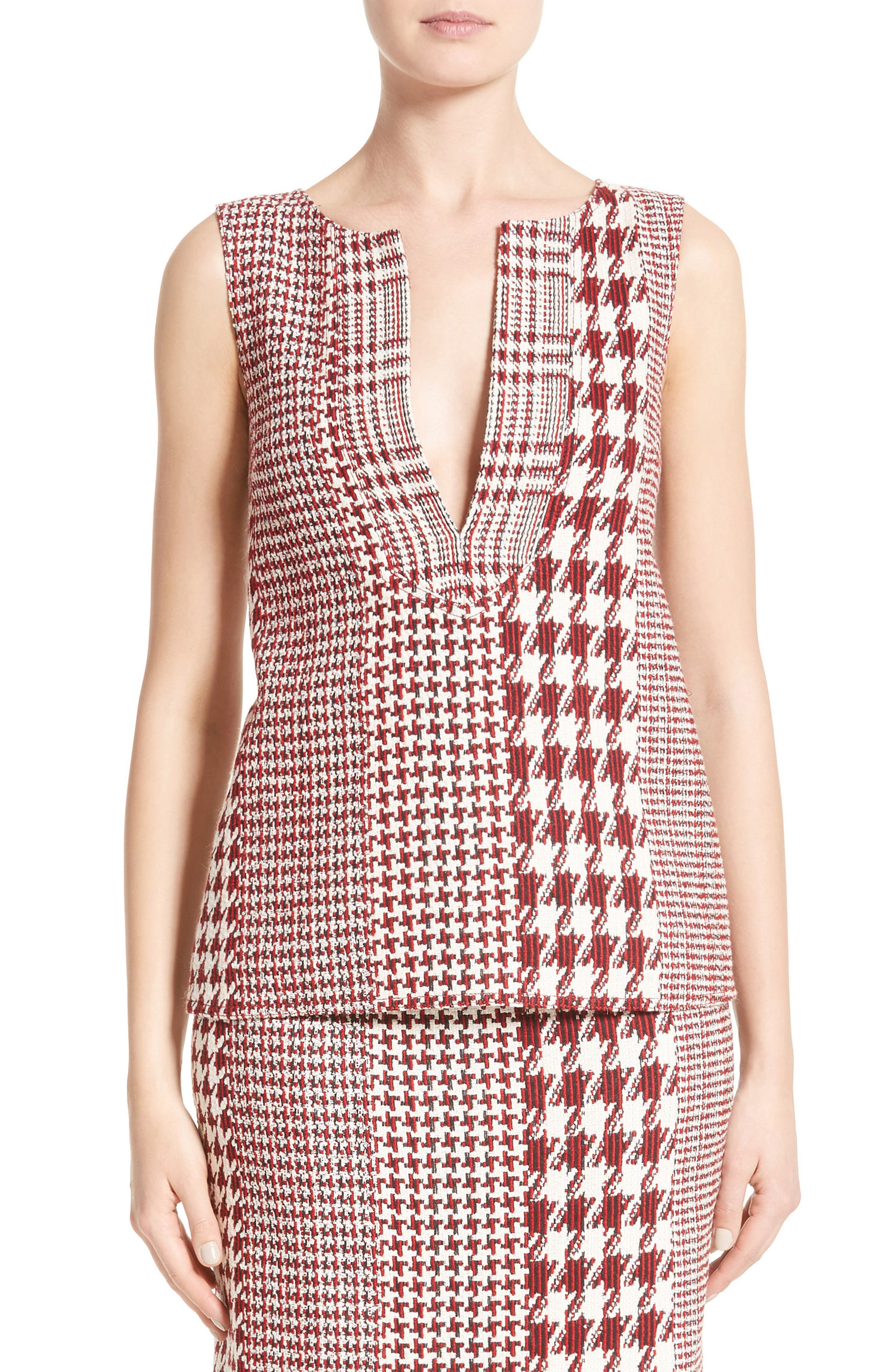 Houndstooth Watteau Blouse,                         Main,                         color, Red Multi