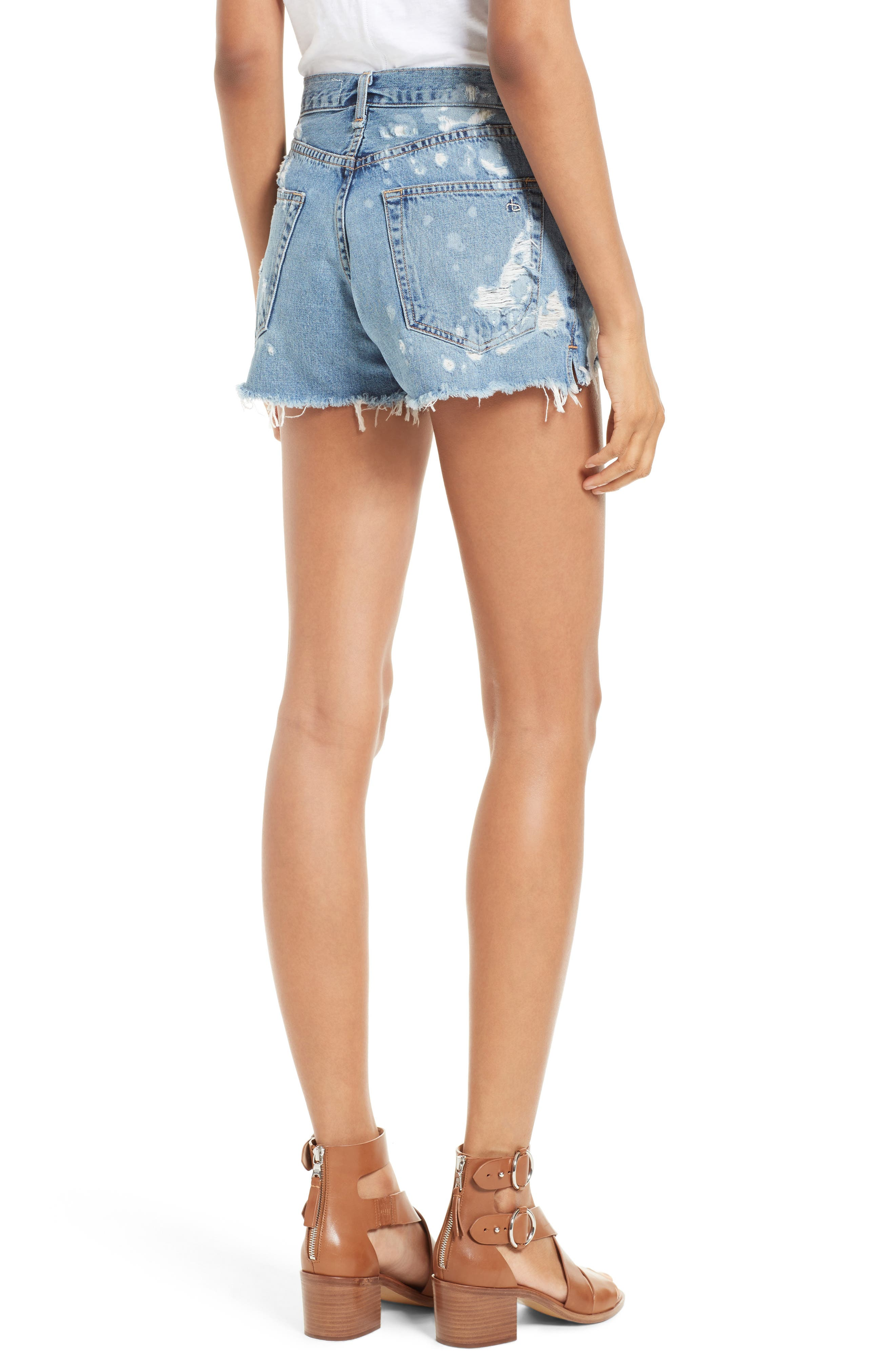 Justine High Waist Cutoff Denim Shorts,                             Alternate thumbnail 2, color,                             Brokenland