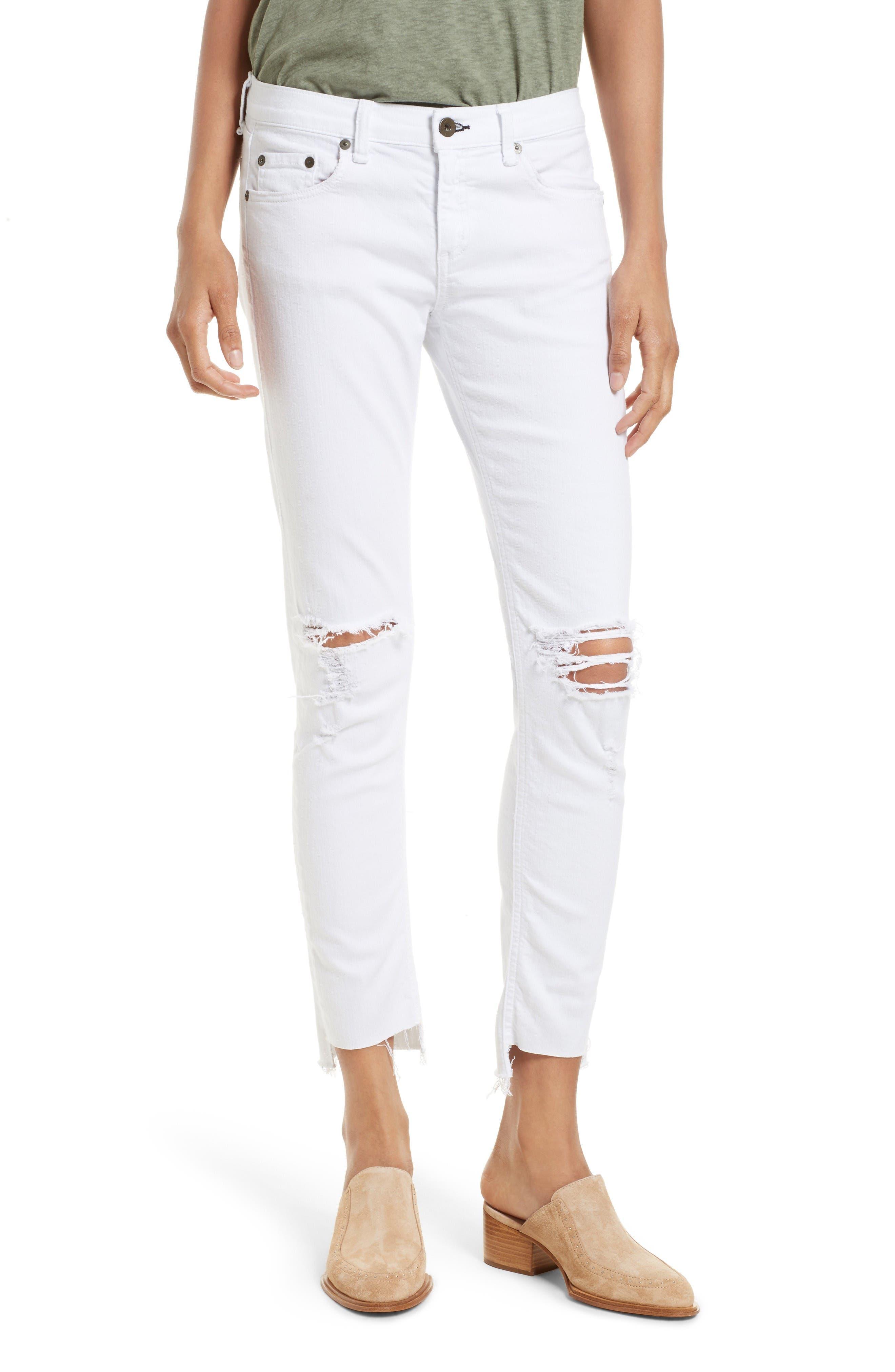 Main Image - rag & bone/JEAN The Dre Capri Slim Boyfriend Jeans (White Prospector)