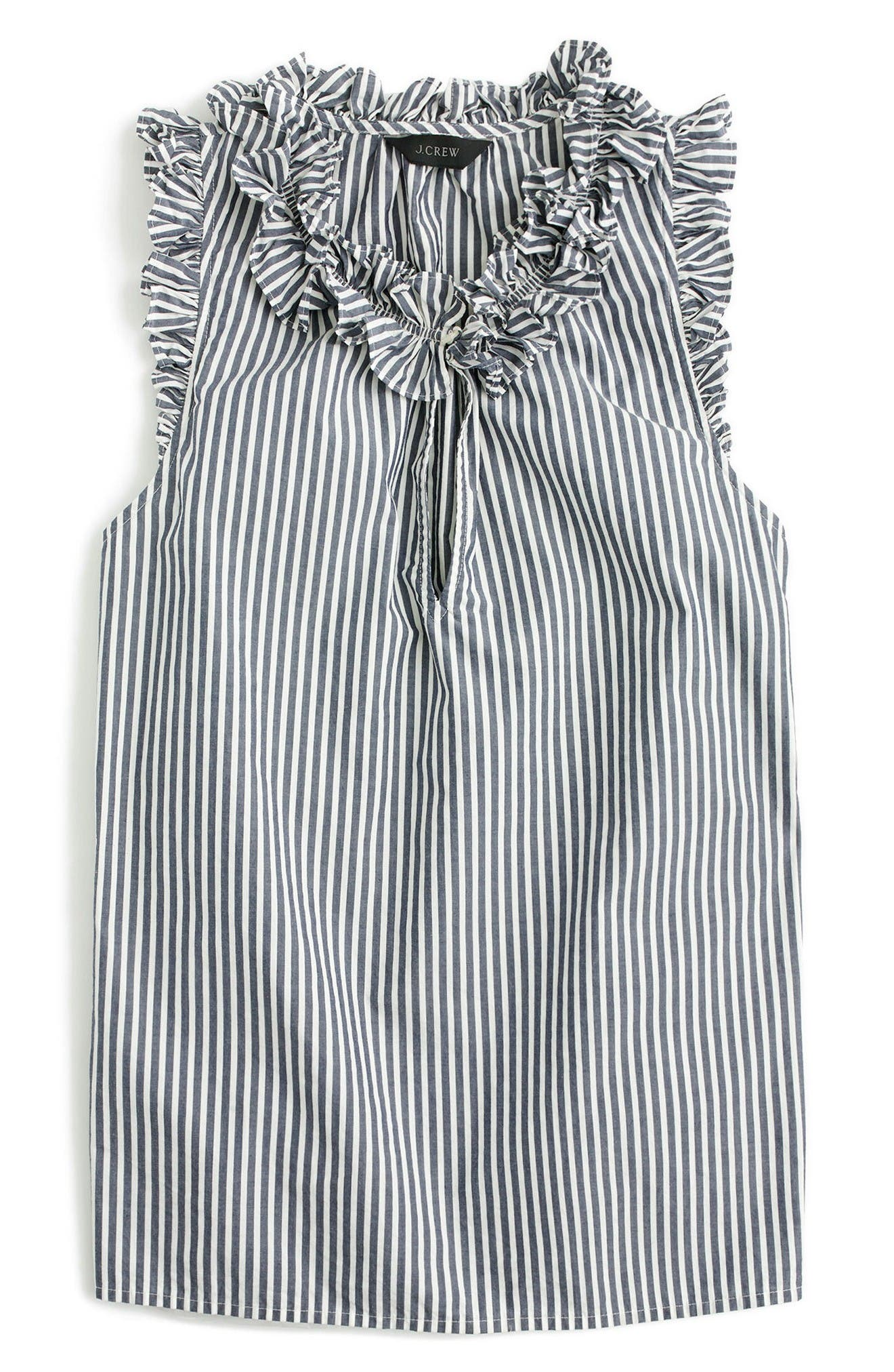 Alternate Image 2  - J.Crew Ruffle Stripe Cotton Poplin Top