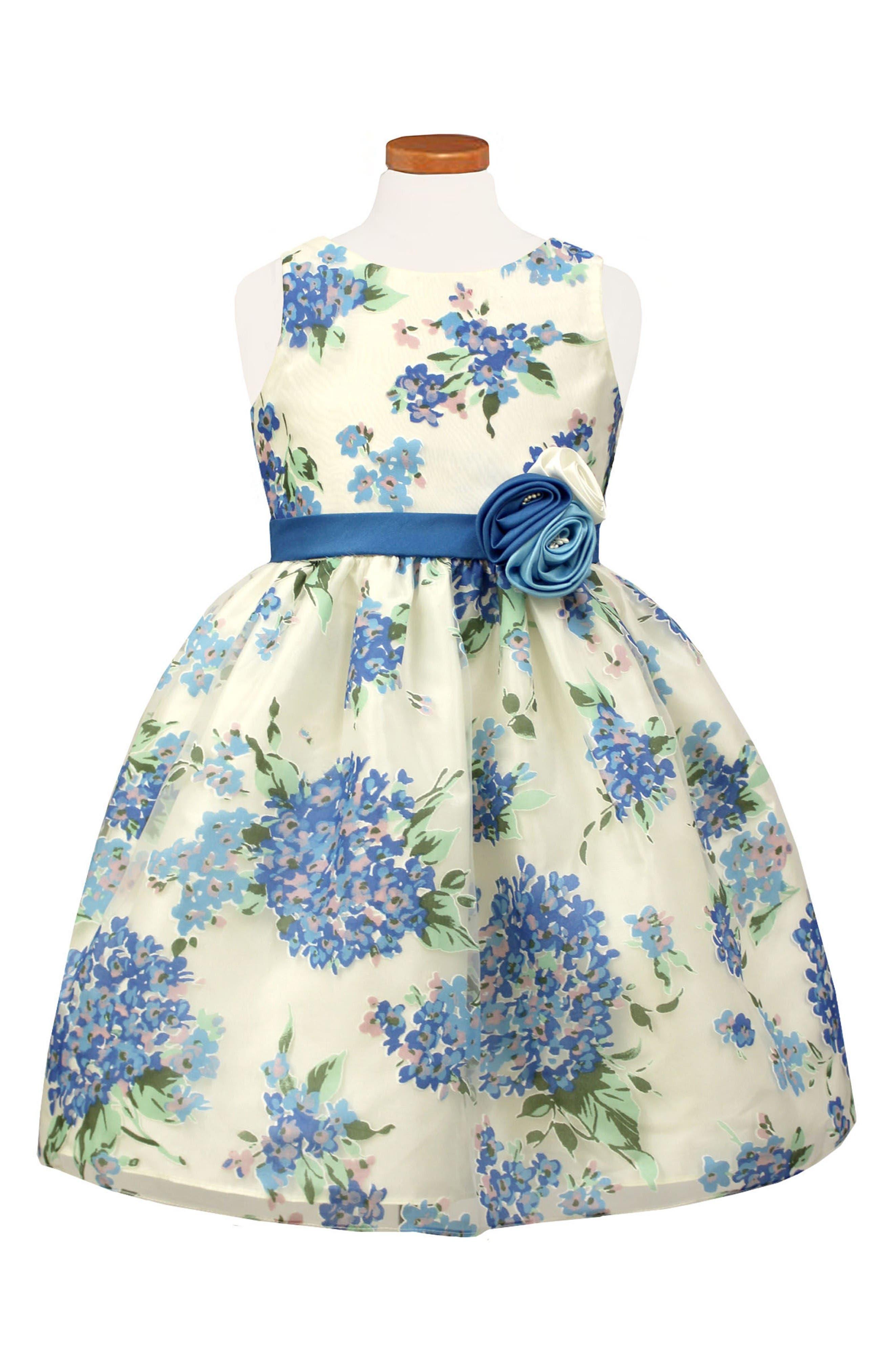 Hydrangea Burnout Dress,                         Main,                         color, Blue
