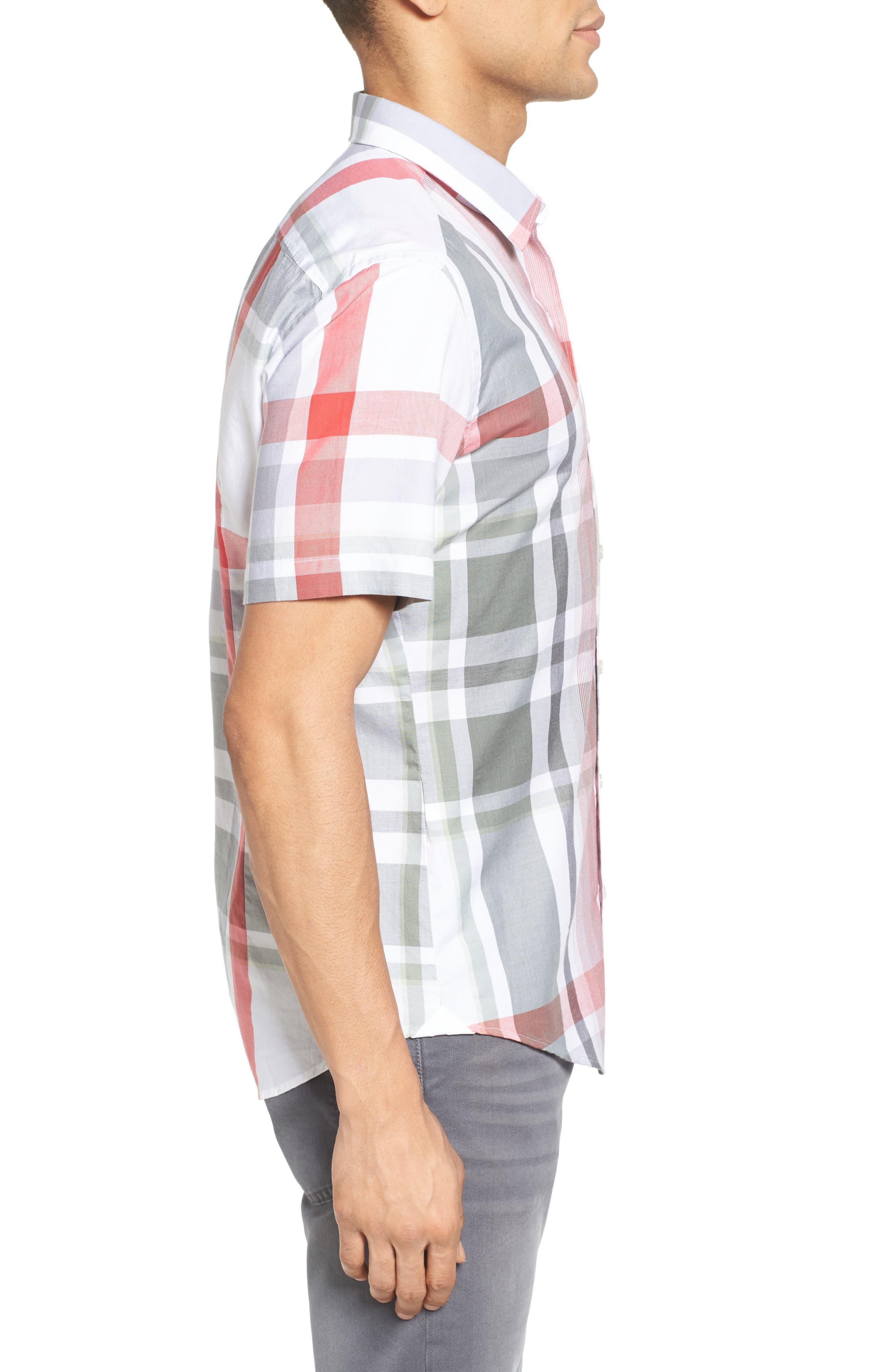 Robb Sharp Fit Plaid Sport Shirt,                             Alternate thumbnail 3, color,                             Red