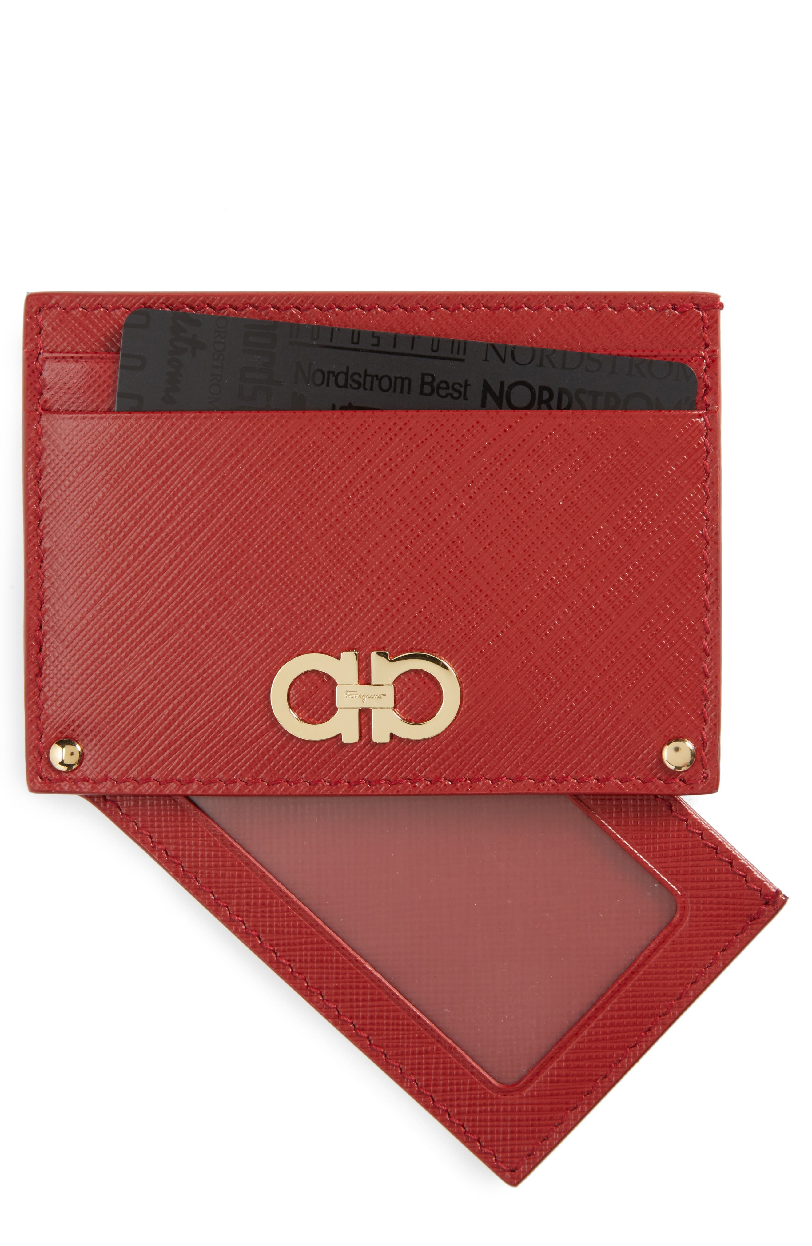 Saffiano Calfskin Card Case,                         Main,                         color, Rosso