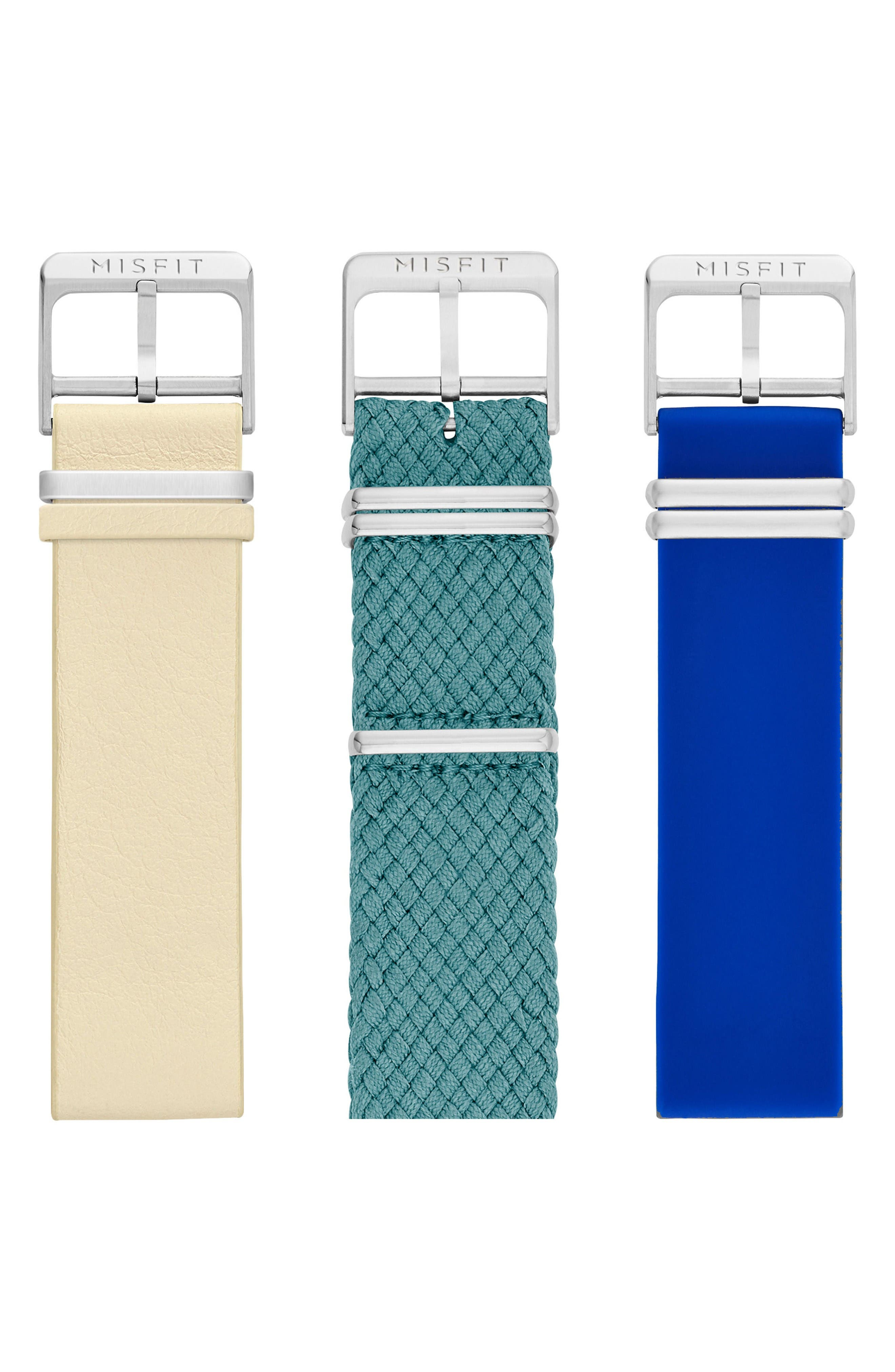 Phase Three-Pack 20mm Watch Straps,                         Main,                         color, Sand/ Teal/ Cobalt