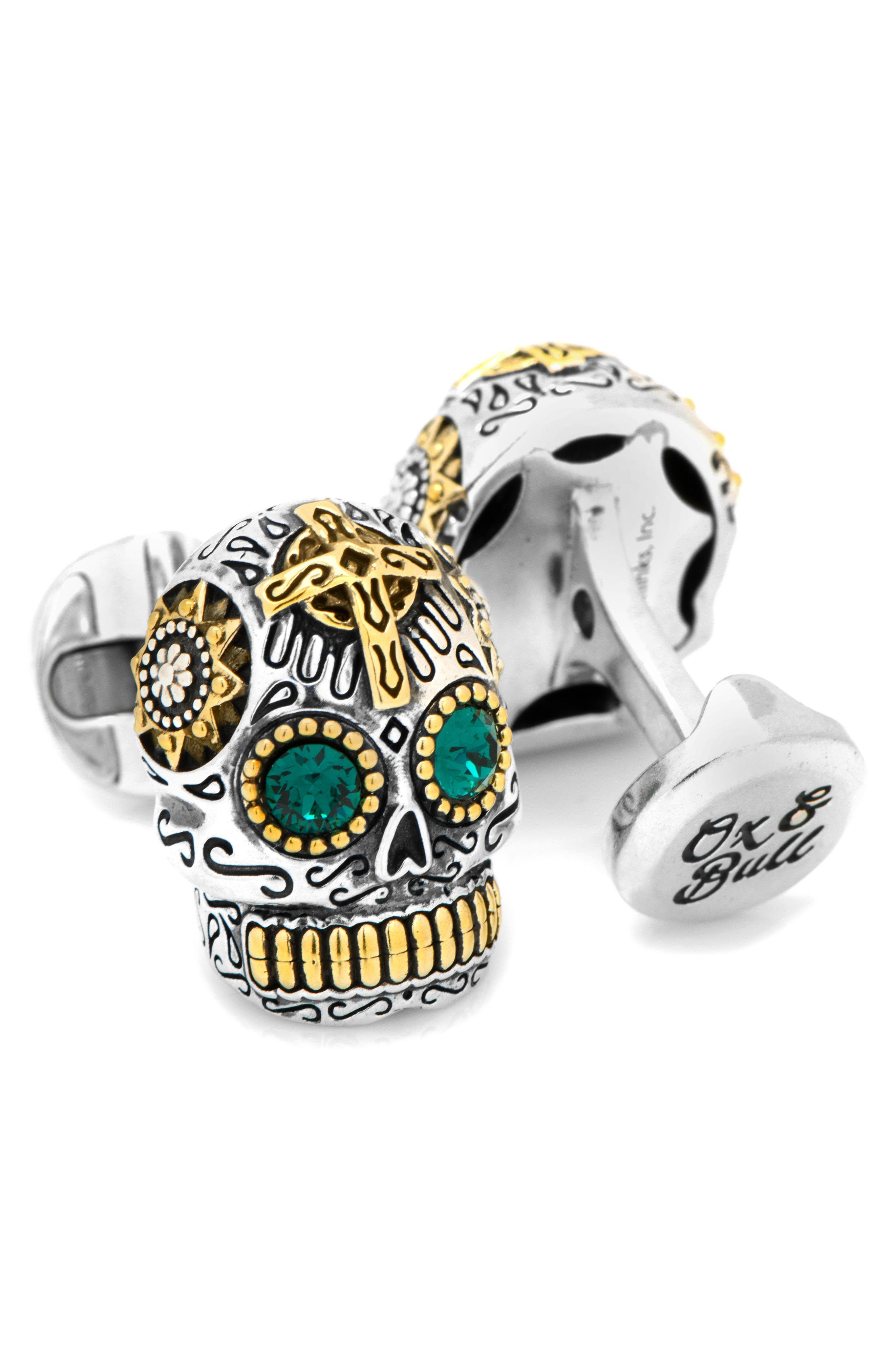 Skull Cuff Links,                             Alternate thumbnail 2, color,                             Silver