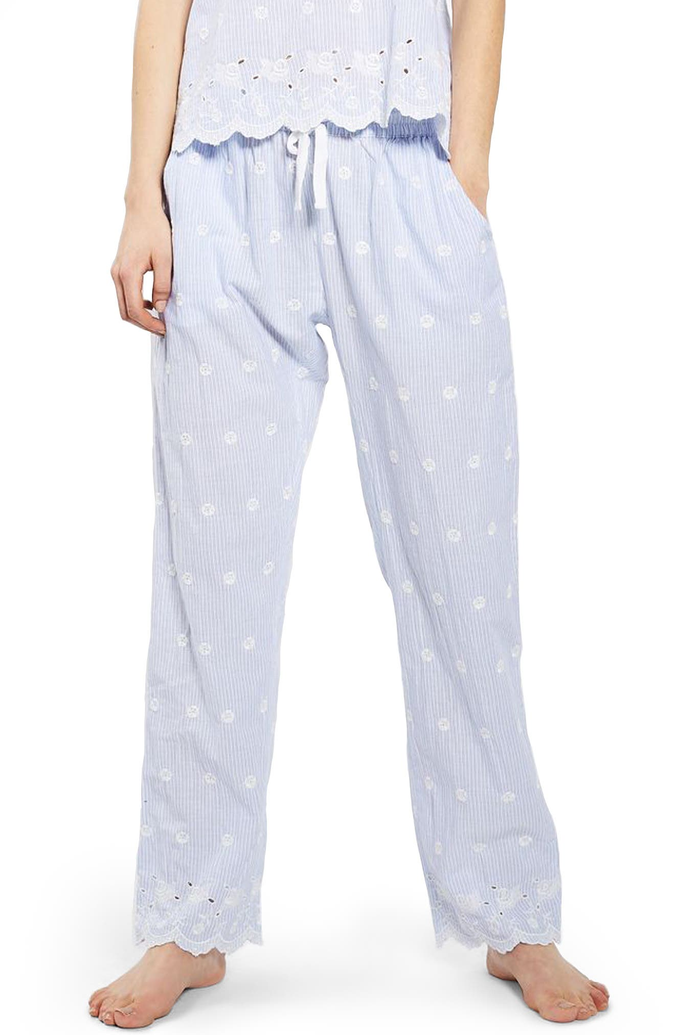 Main Image - Topshop Embroidered Stripe Pajama Pants