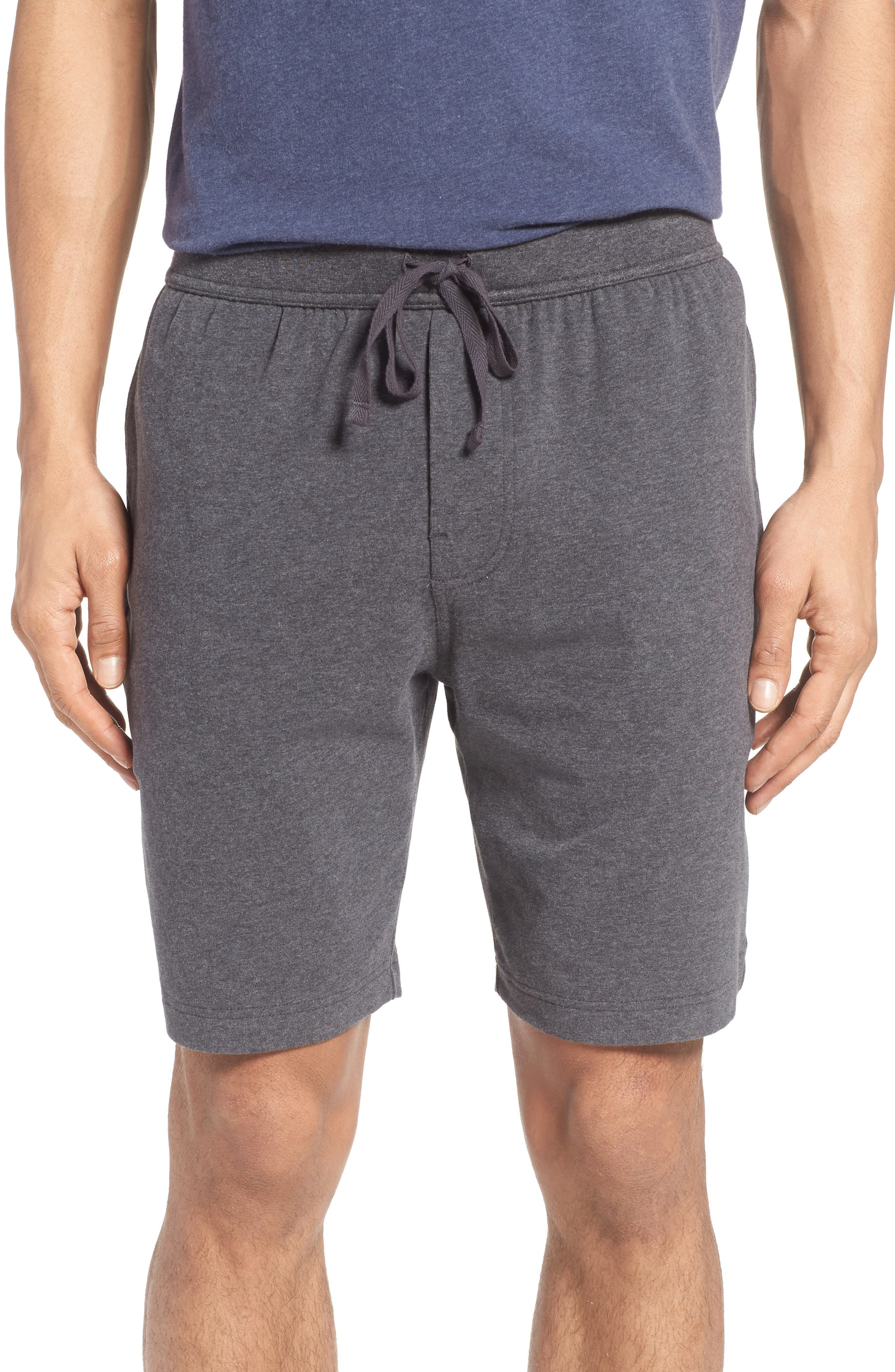 Stretch Cotton Lounge Shorts,                             Main thumbnail 1, color,                             Grey Charcoal