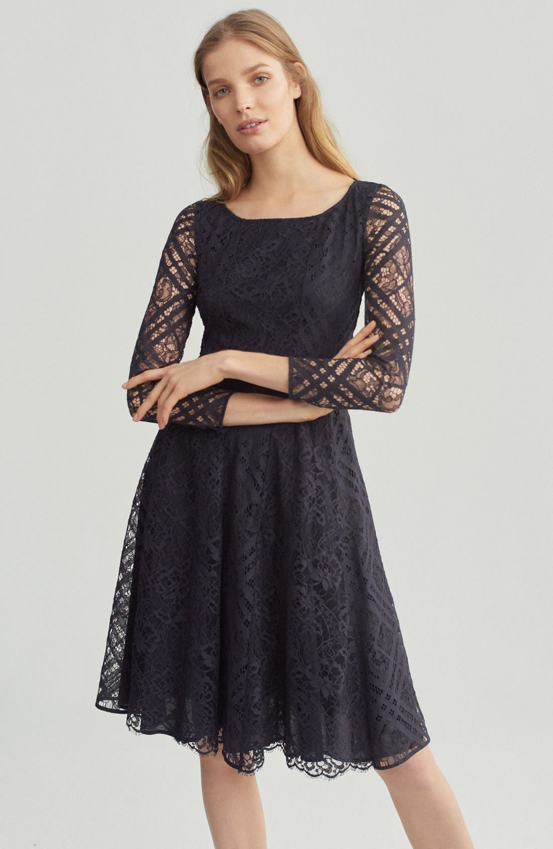 Liliana Lace Fit & Flare Dress,                             Alternate thumbnail 8, color,                             Navy