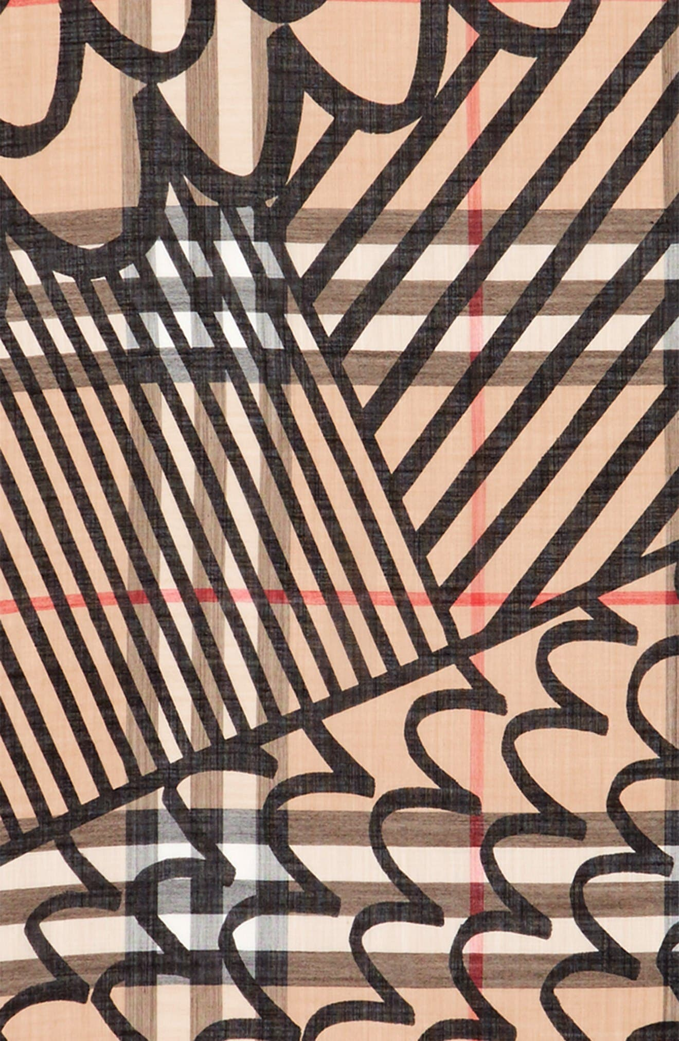 Patchwork Gauze Check Scarf,                             Alternate thumbnail 3, color,                             Camel/ Black