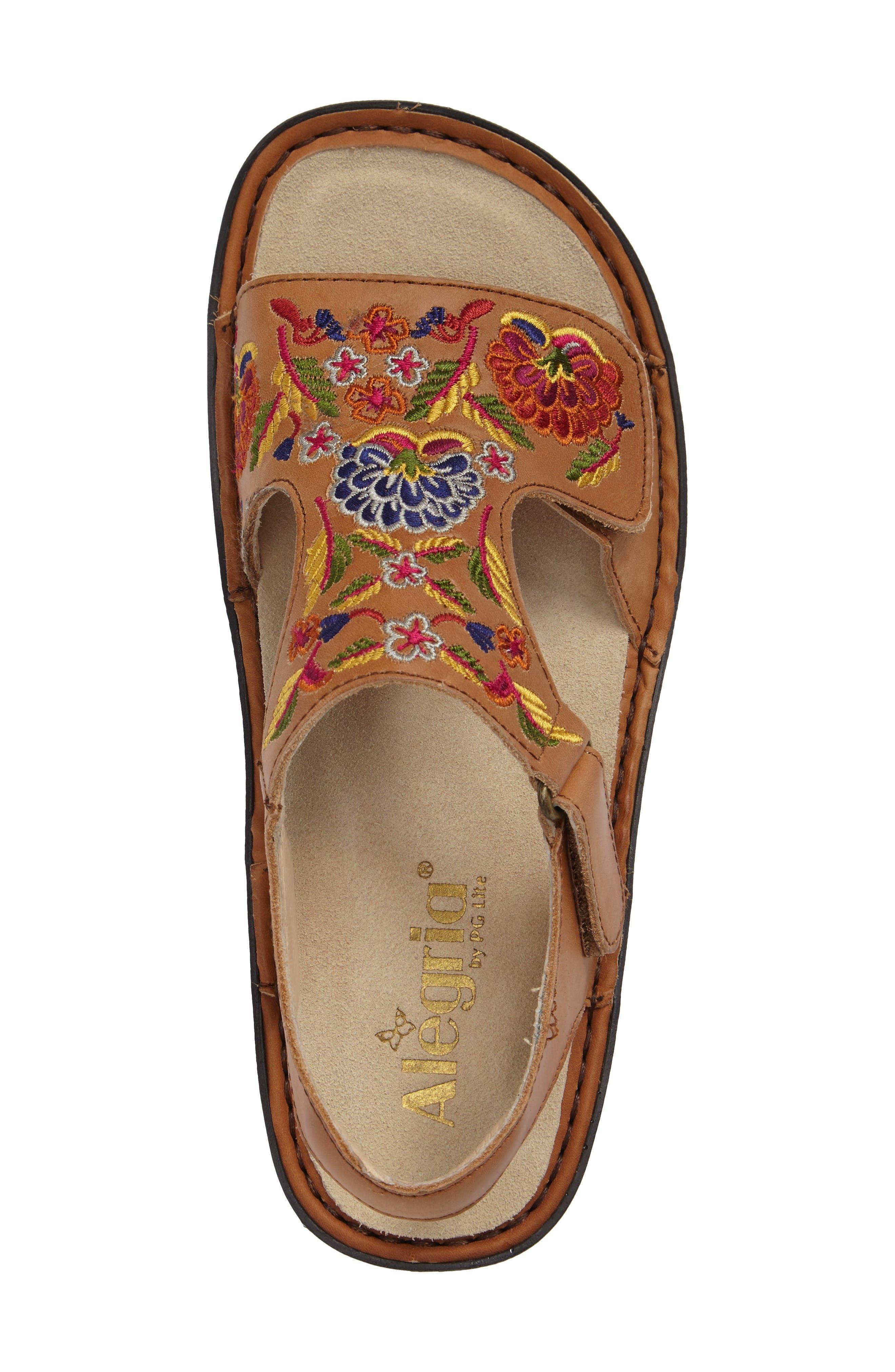 Viki Embroidered Sandal,                             Alternate thumbnail 3, color,                             Cognac Pins/ Needles Leather