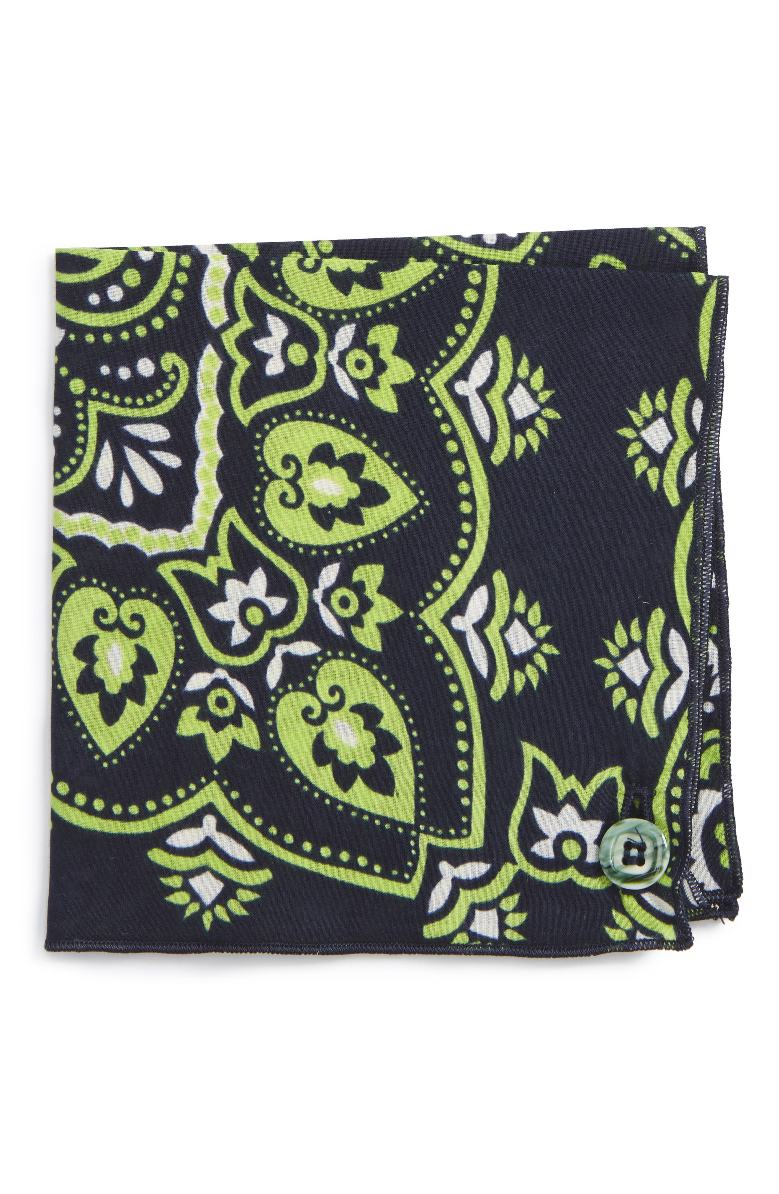 Main Image - Armstrong & Wilson Neon Paisley Cotton Pocket Square