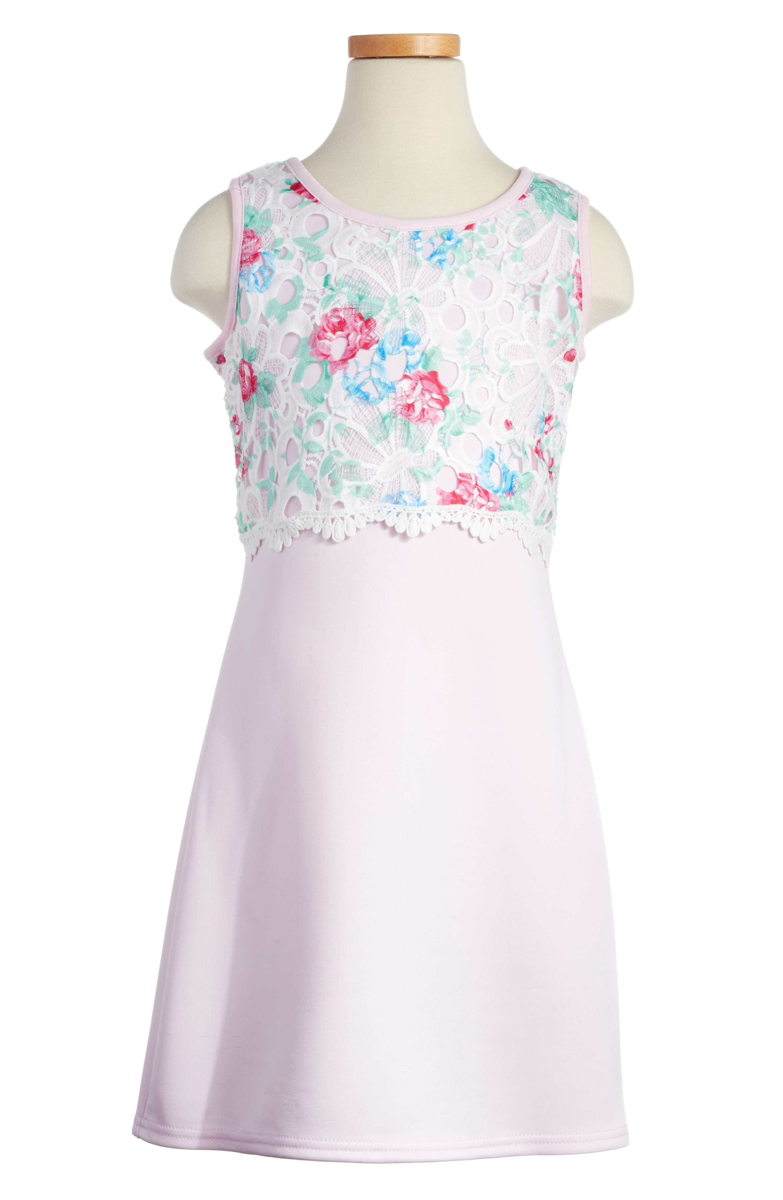 BLUSH by Us Angels Floral Popover Sheath Dress (Big Girls)