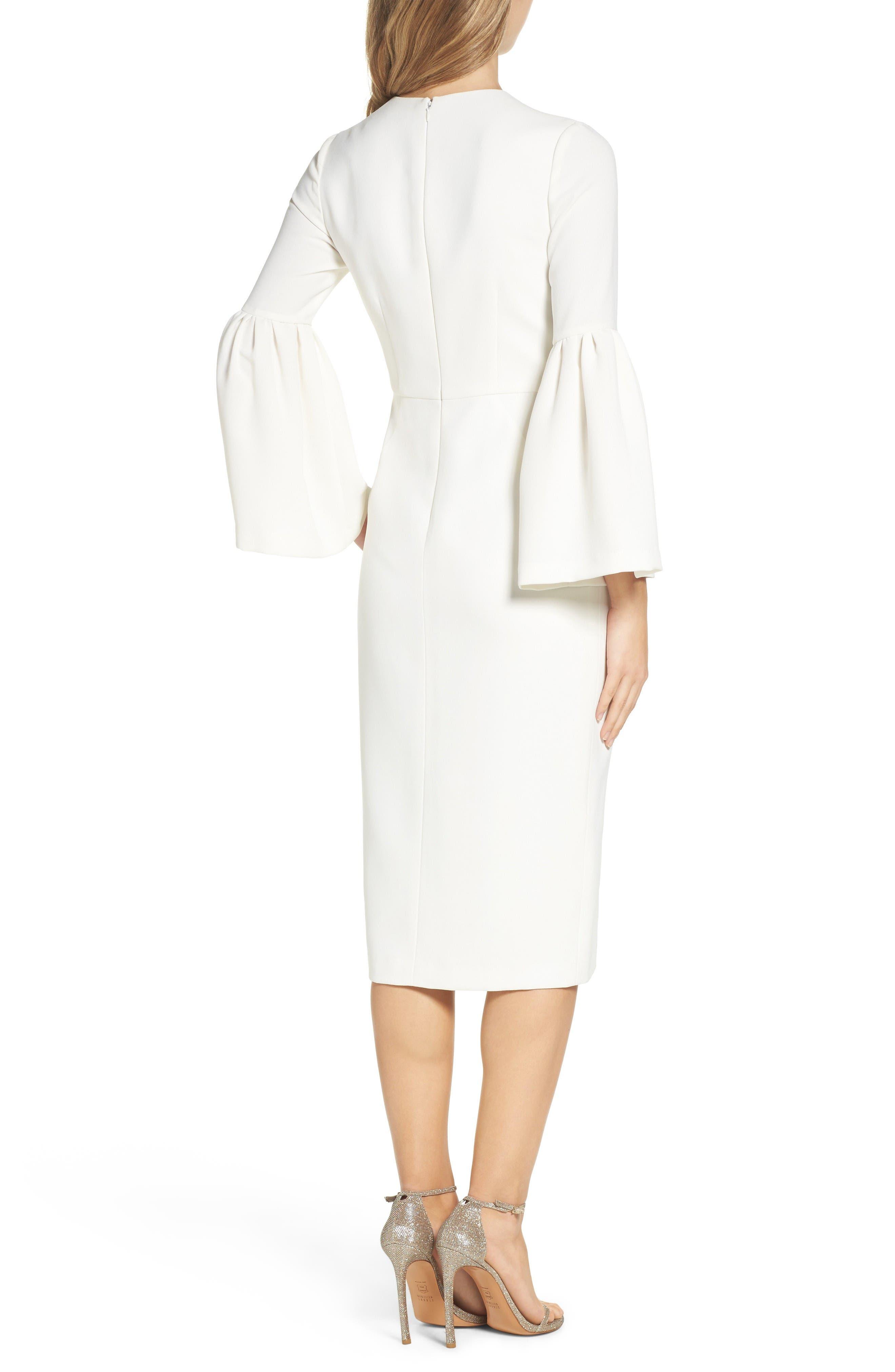 Crepe Midi Dress,                             Alternate thumbnail 2, color,                             Off White