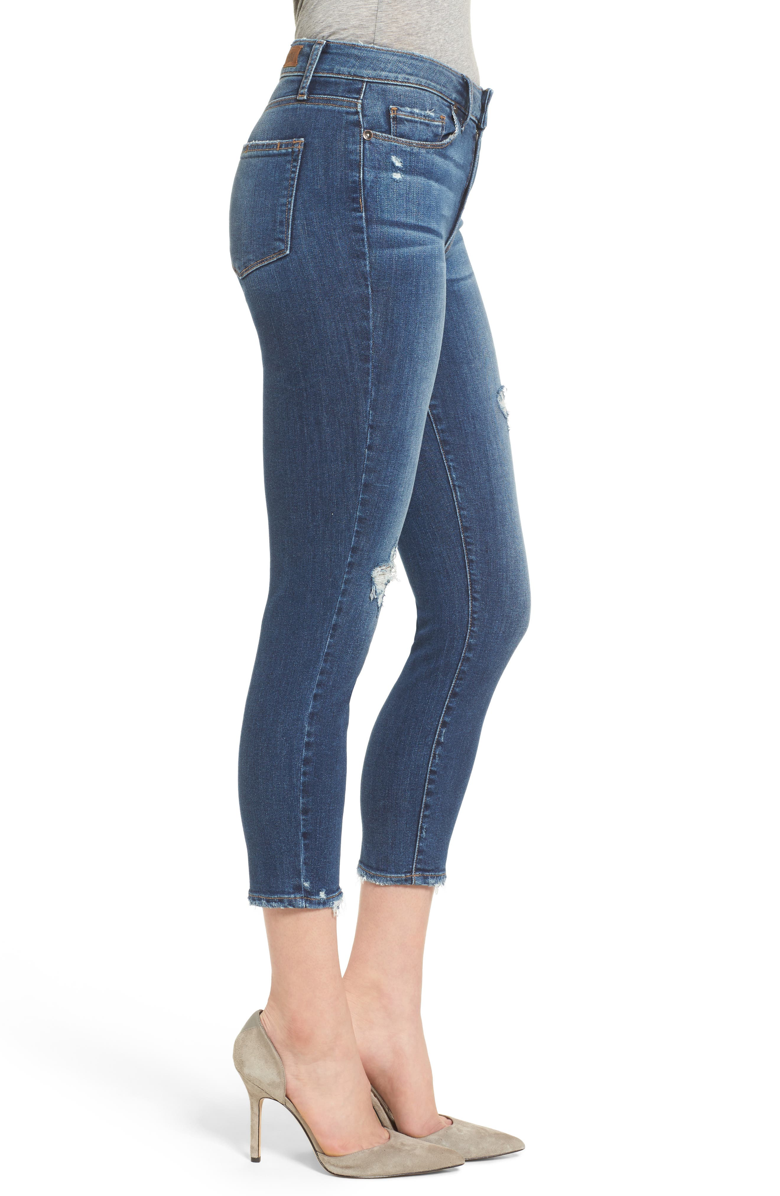 Transcend - Hoxton High Waist Crop Skinny Jeans,                             Alternate thumbnail 3, color,                             Nora Destructed