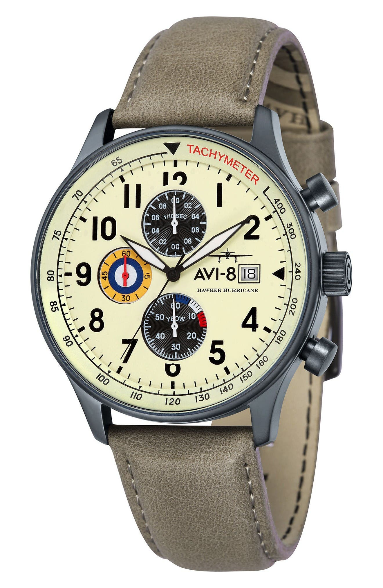 Alternate Image 1 Selected - AVI-8 Hawker Hurricane Chronograph Leather Strap Watch, 42mm