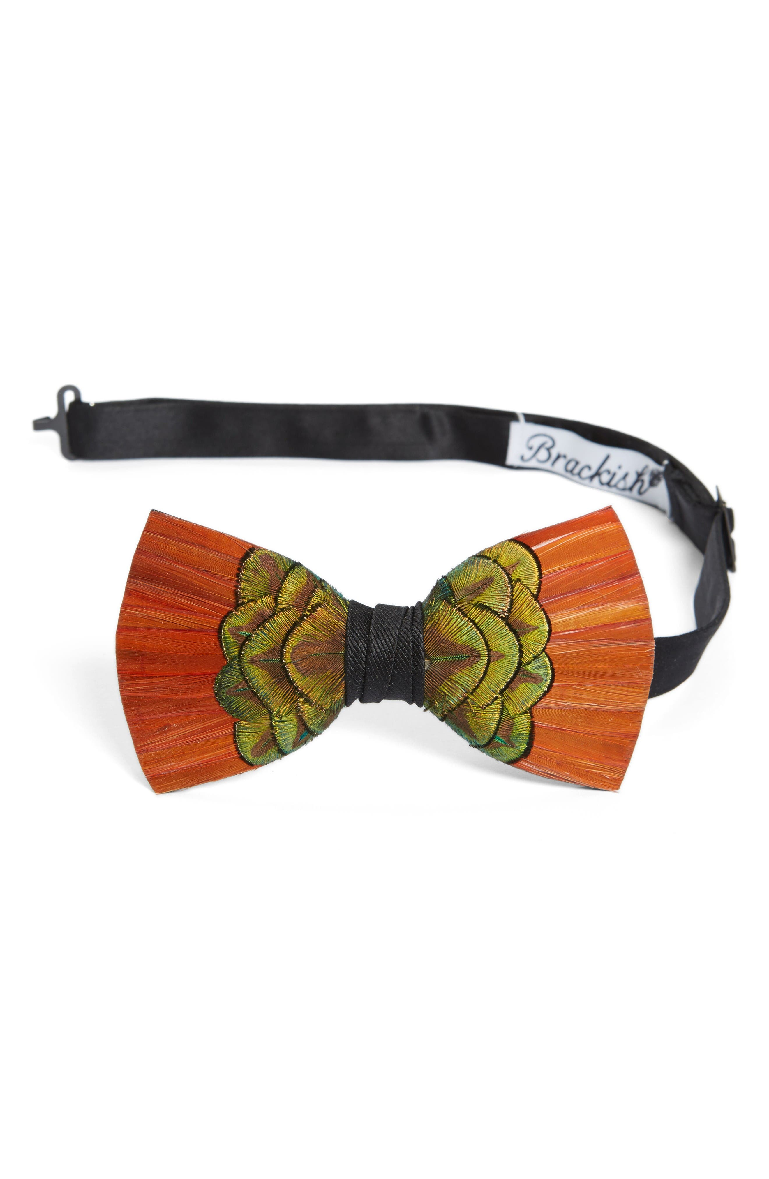 Brackish & Bell Cameron Feather Bow Tie,                         Main,                         color, Orange