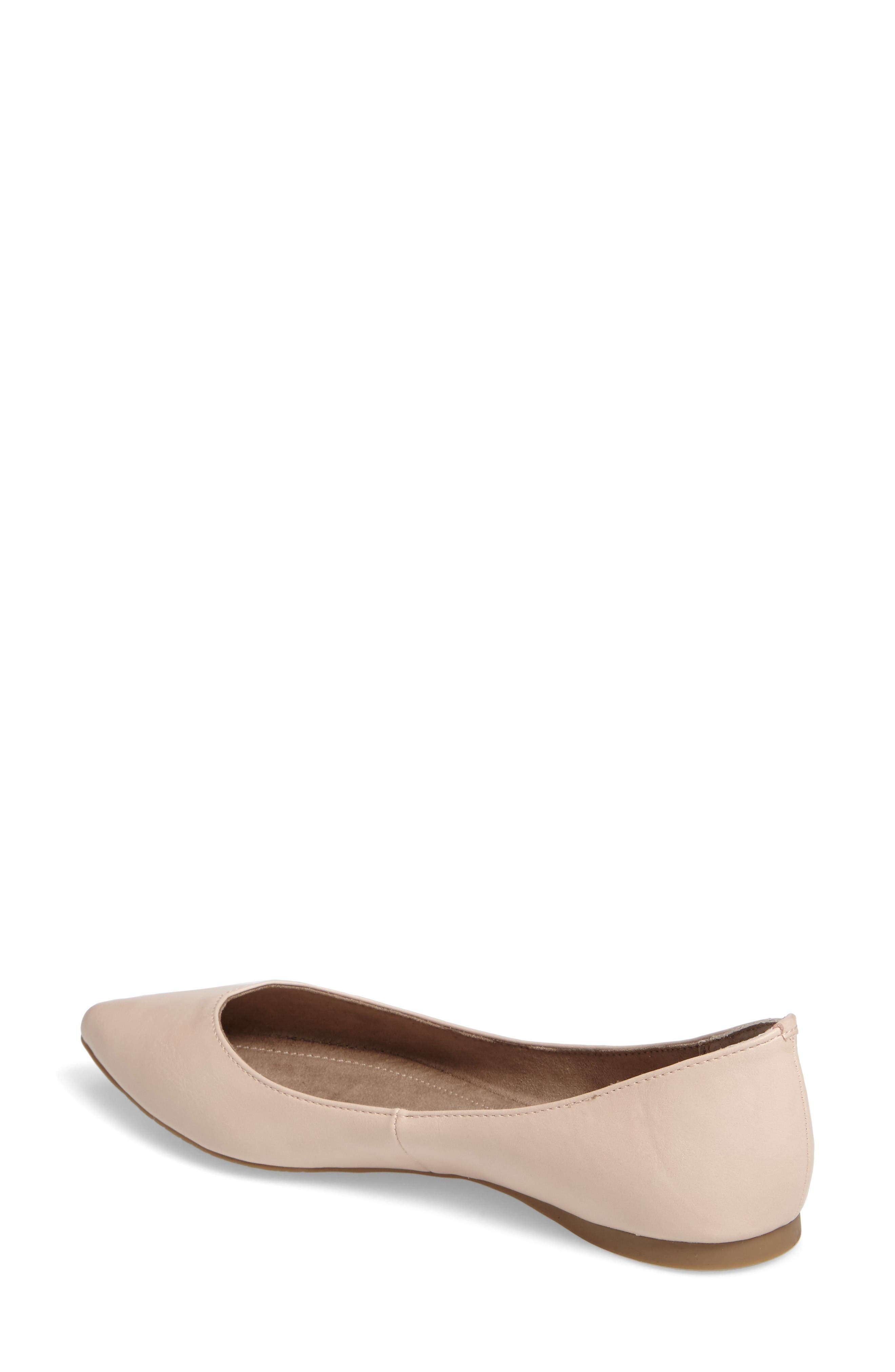'Moveover' Pointy Toe Flat,                             Alternate thumbnail 2, color,                             Blush Faux Leather