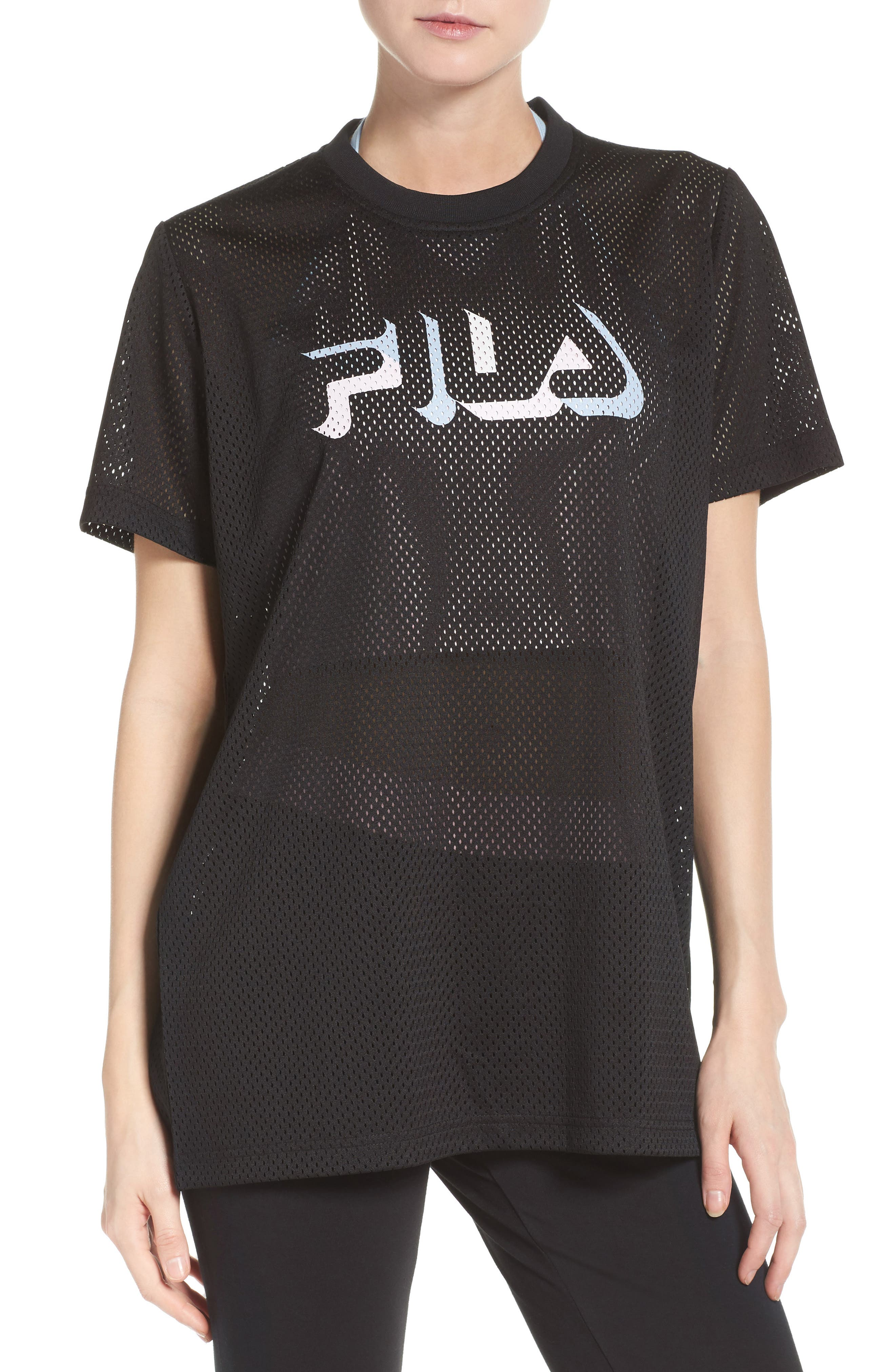 Liona Mesh Tee,                             Main thumbnail 1, color,                             Black