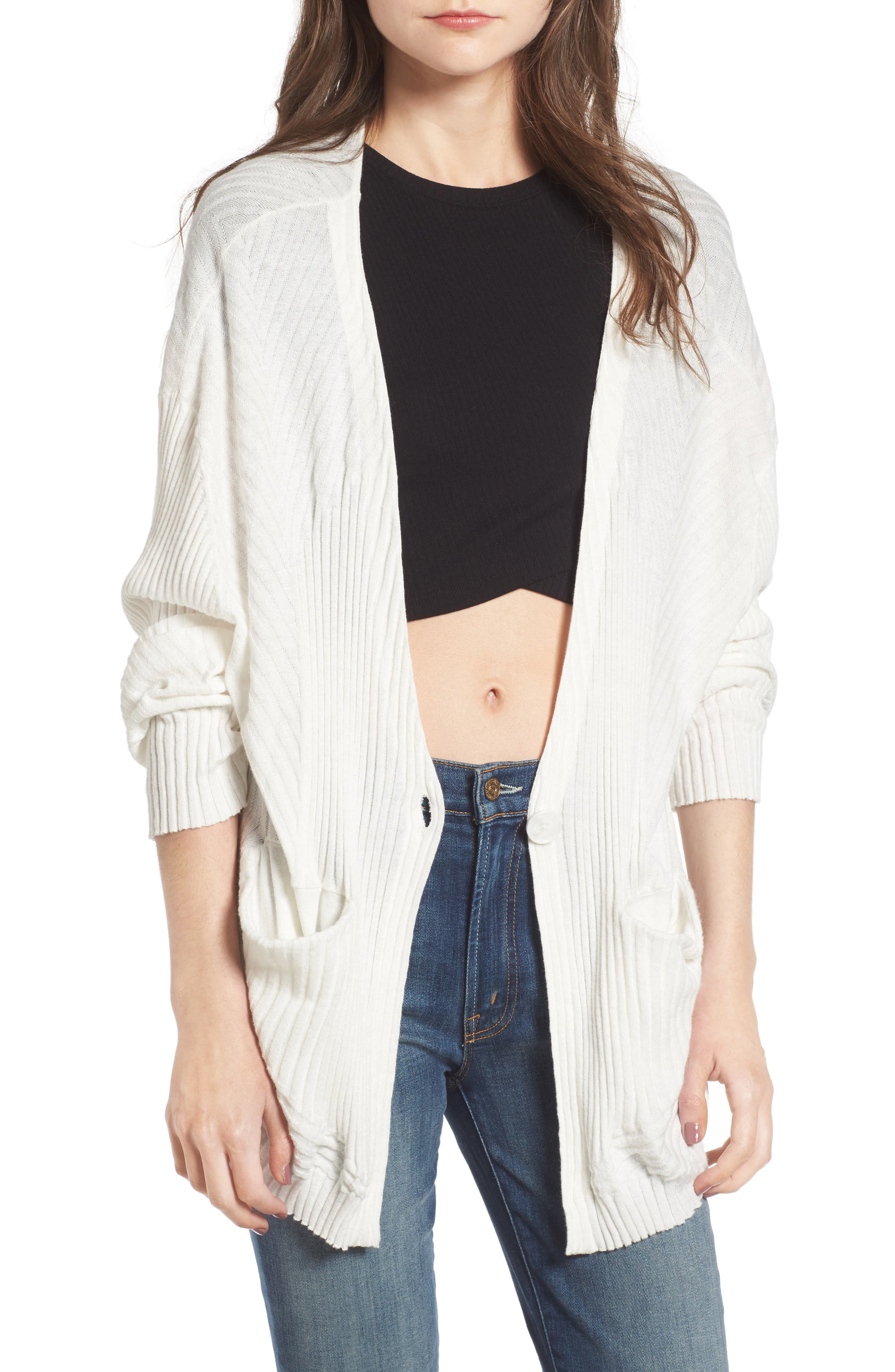 I'm Busy Cardigan,                         Main,                         color, Clean White
