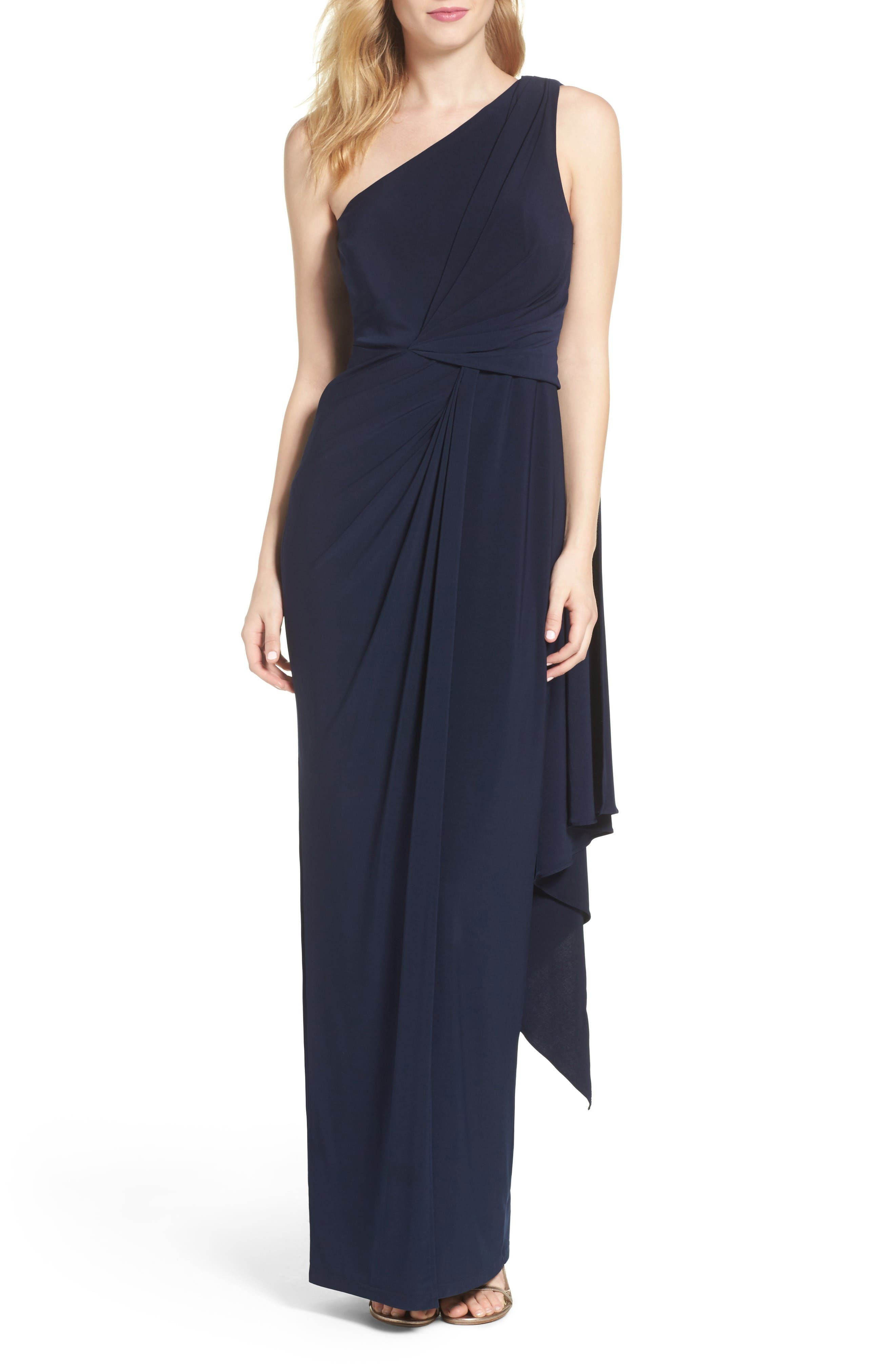 Jersey Column Gown,                         Main,                         color, Midnight