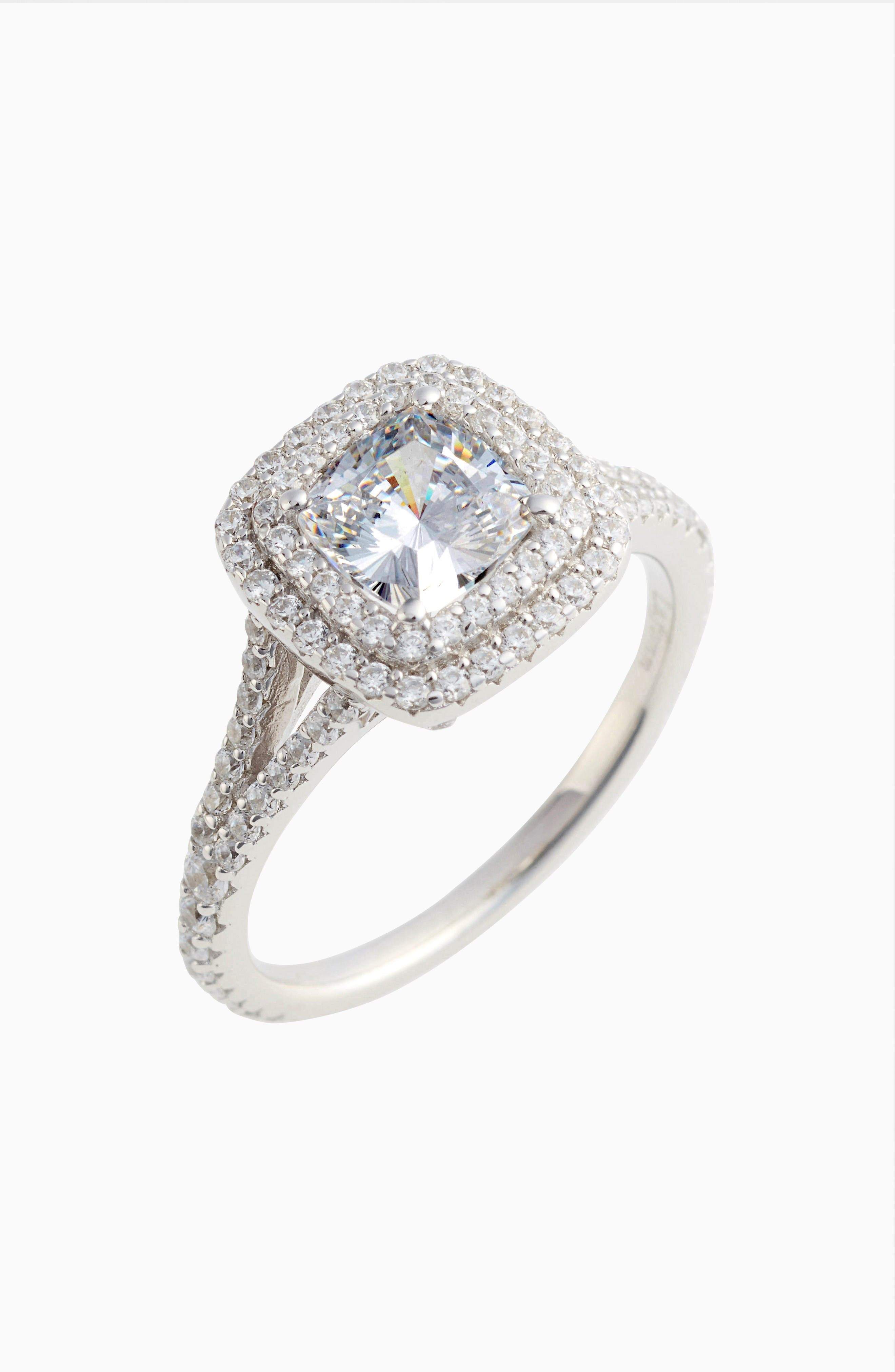 Double Halo Simulated Diamond Ring,                         Main,                         color, Silver
