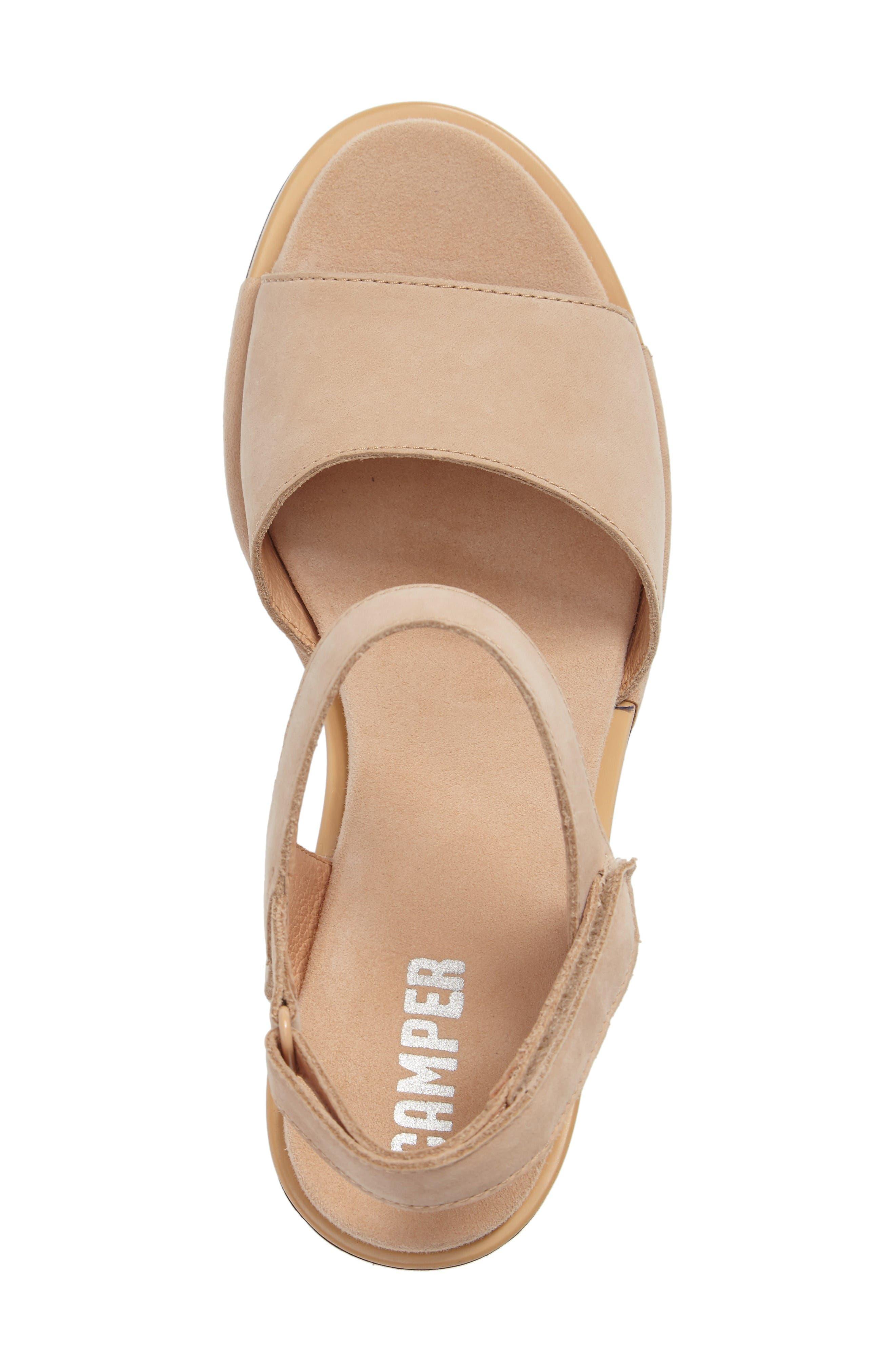 Ivy Ankle Strap Sandal,                             Alternate thumbnail 3, color,                             Beige Leather