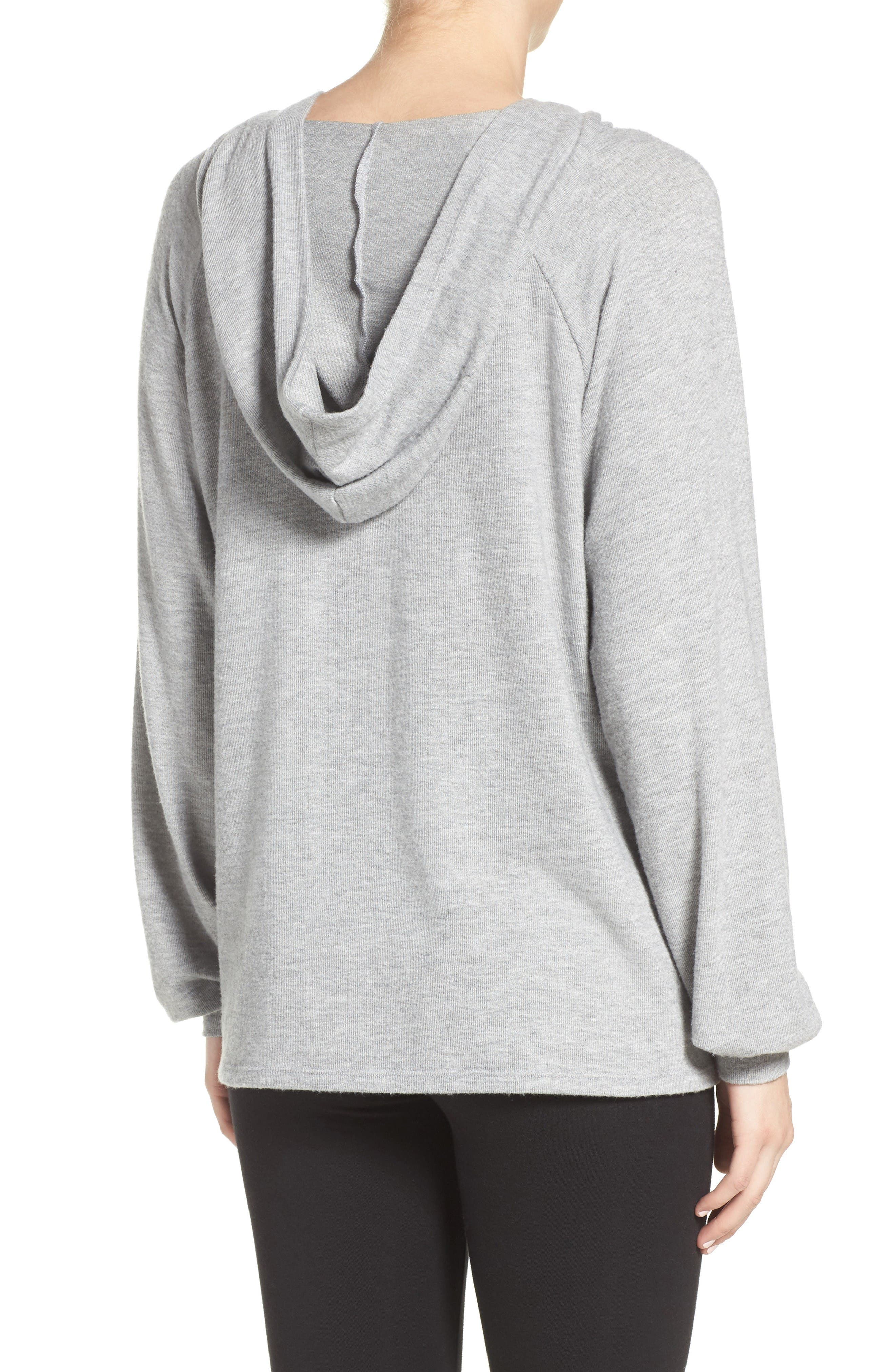 Carson Lace-Up Lounge Hoodie,                             Alternate thumbnail 2, color,                             Heather Grey/ Silk