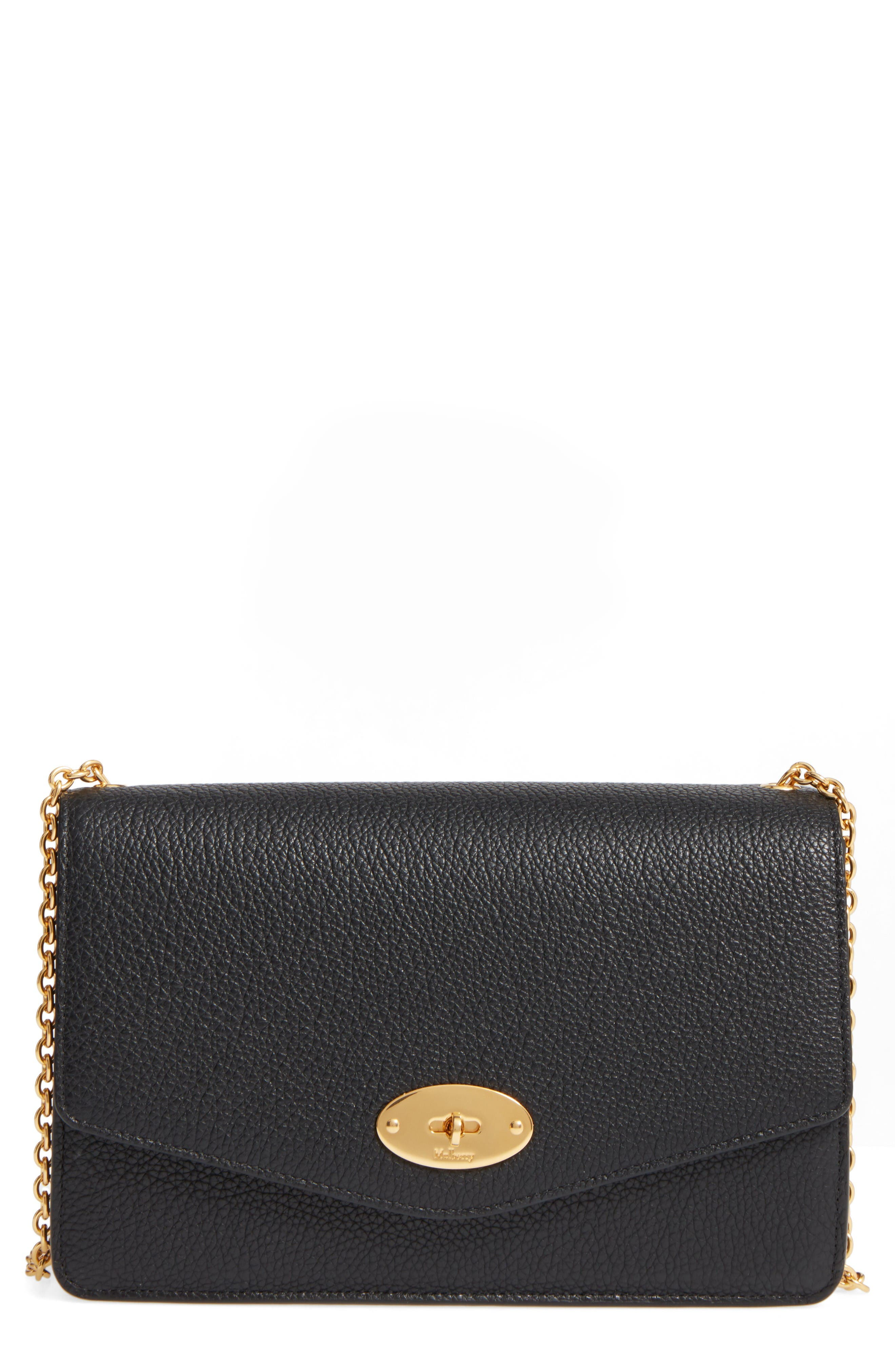 Large Postmans Lock Calfskin Leather Crossbody Clutch,                         Main,                         color, Black