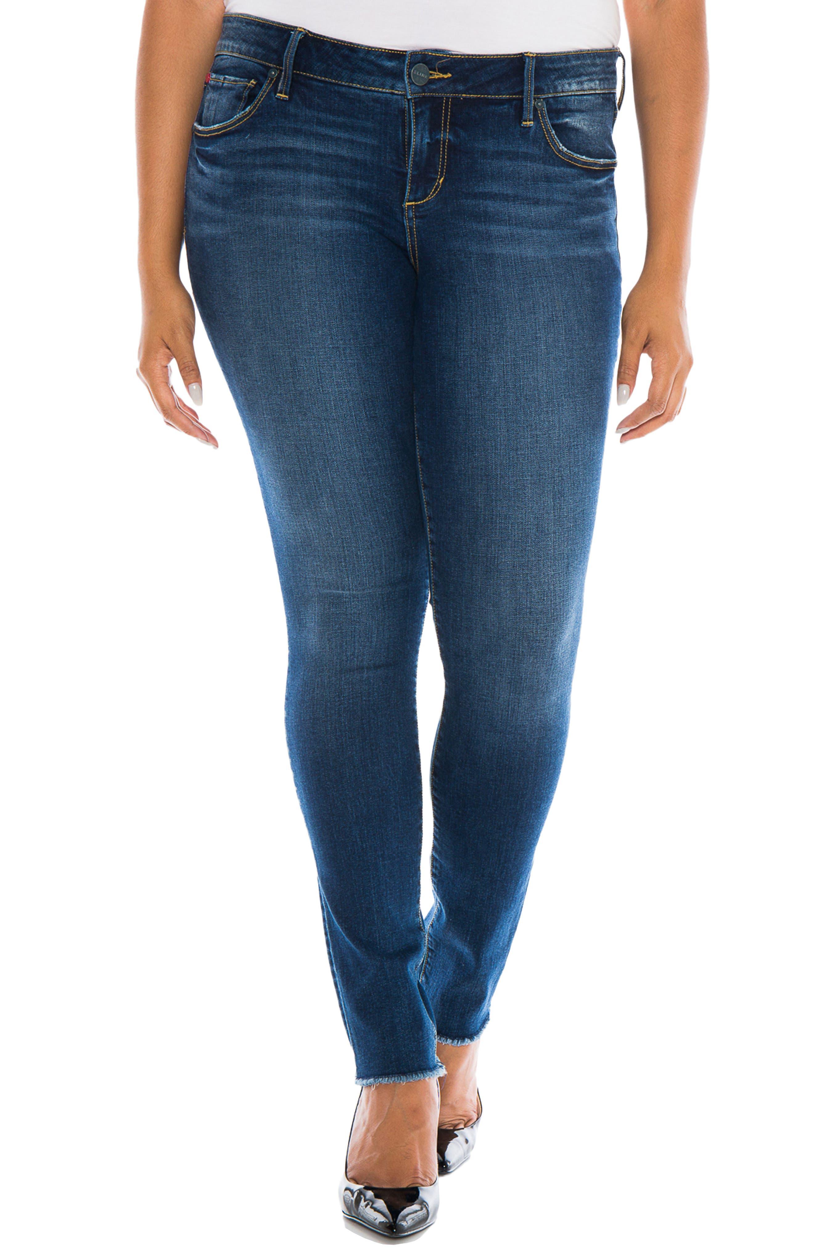 SLINK Jeans Raw Hem Skinny Jeans (Charvelle) (Plus Size)