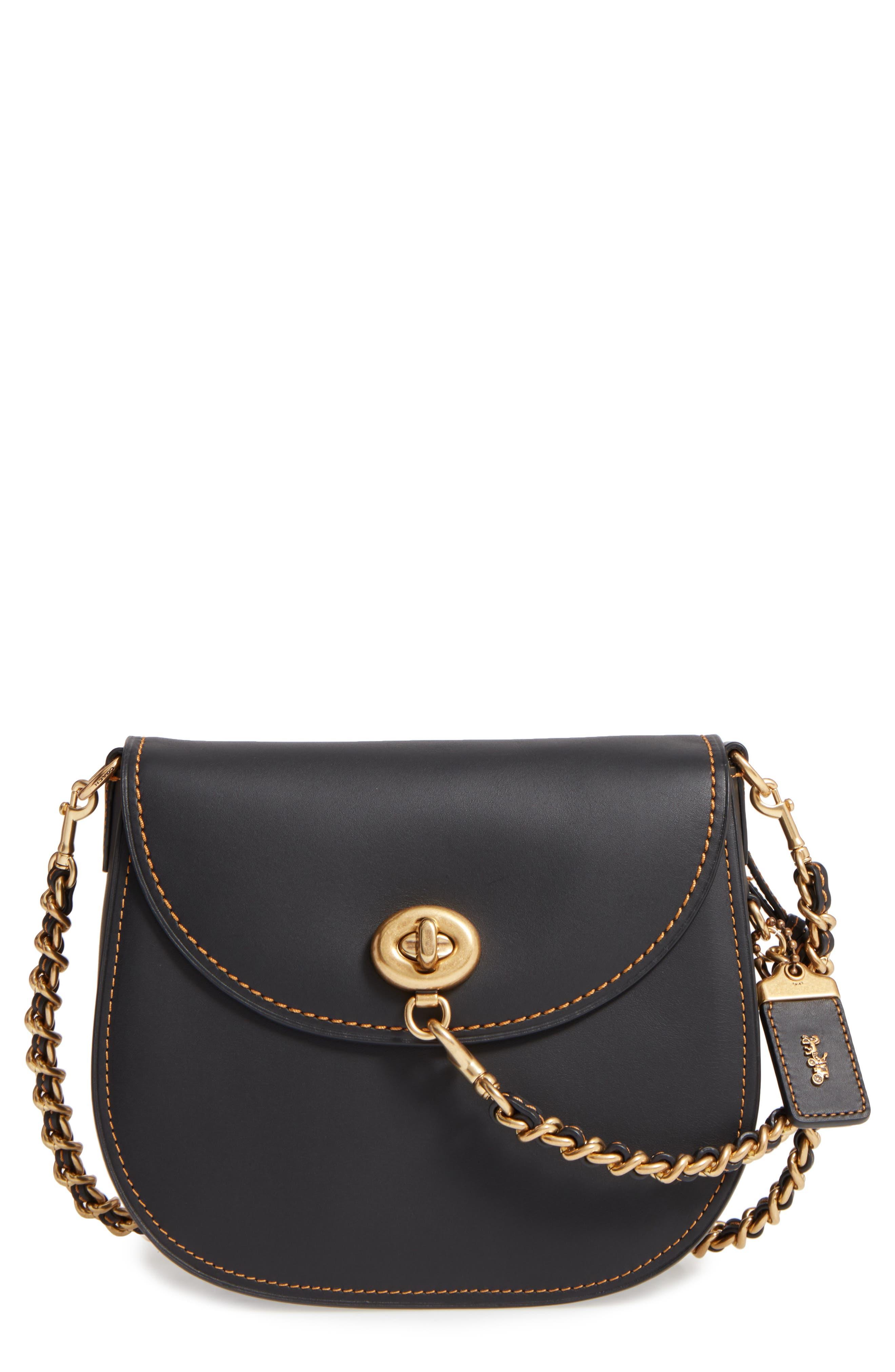 Leather Saddle Bag,                         Main,                         color, Black