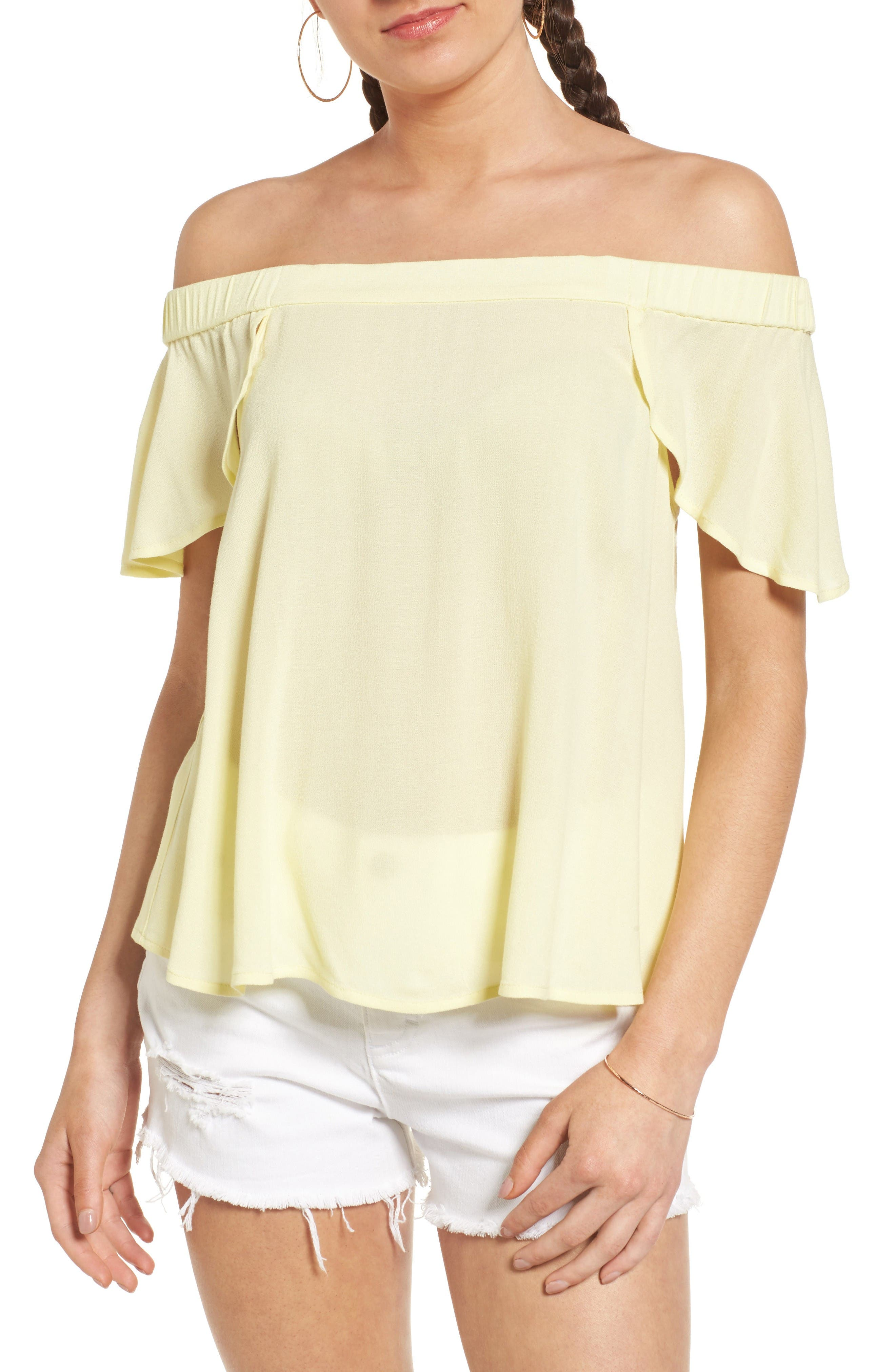 Off the Shoulder Top,                         Main,                         color, Yellow Candle