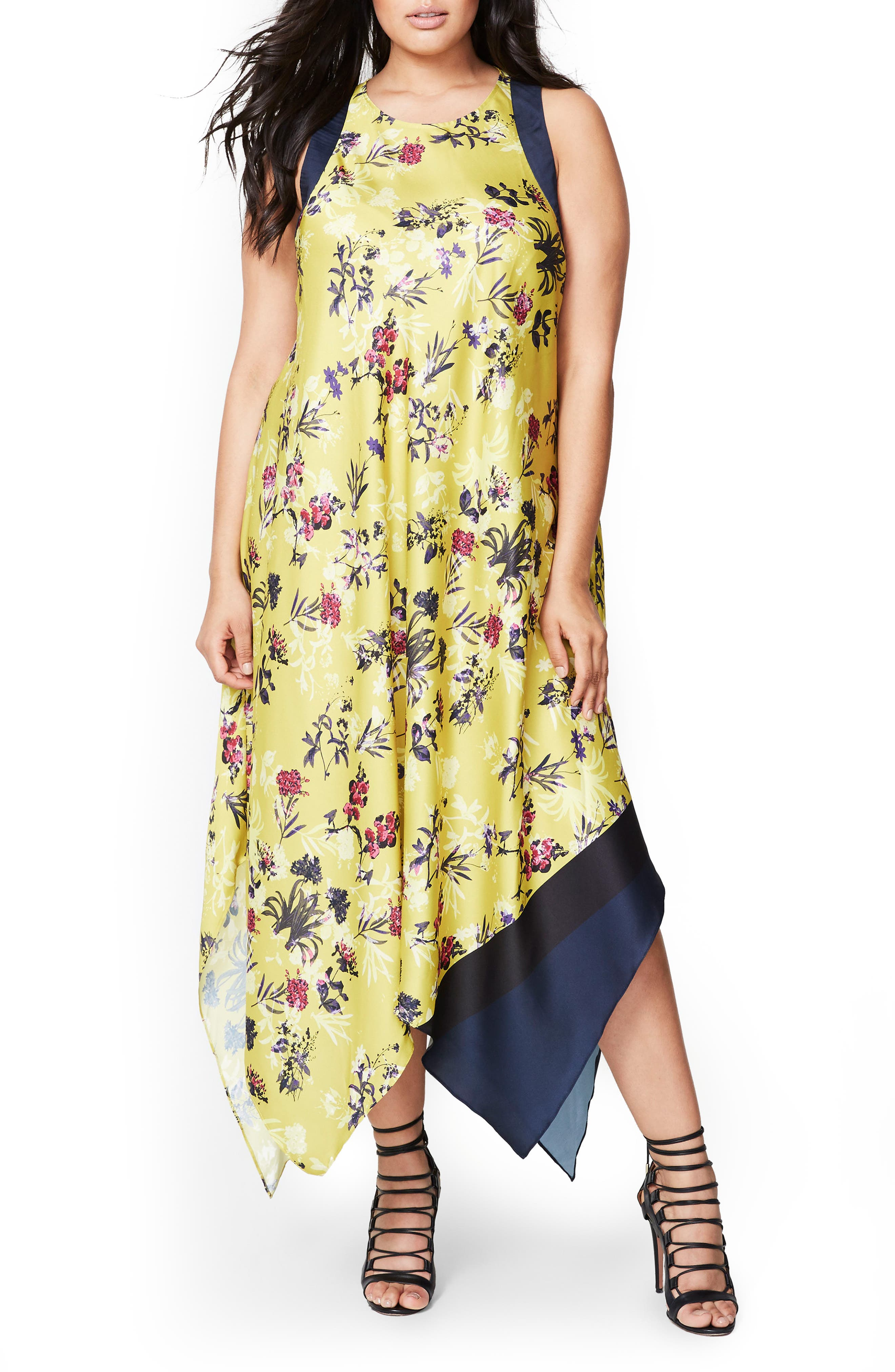 Main Image - Rachel Roy Scarf Print Maxi Dress (Plus Size)
