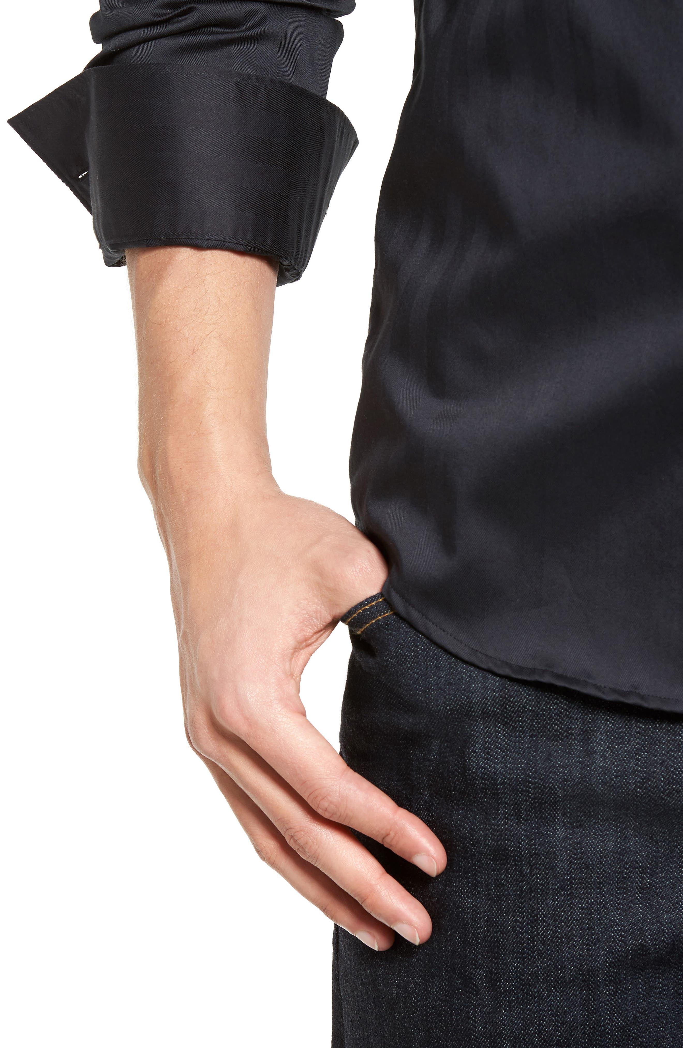 Alternate Image 4  - Stone Rose Herringbone Stripe Sport Shirt