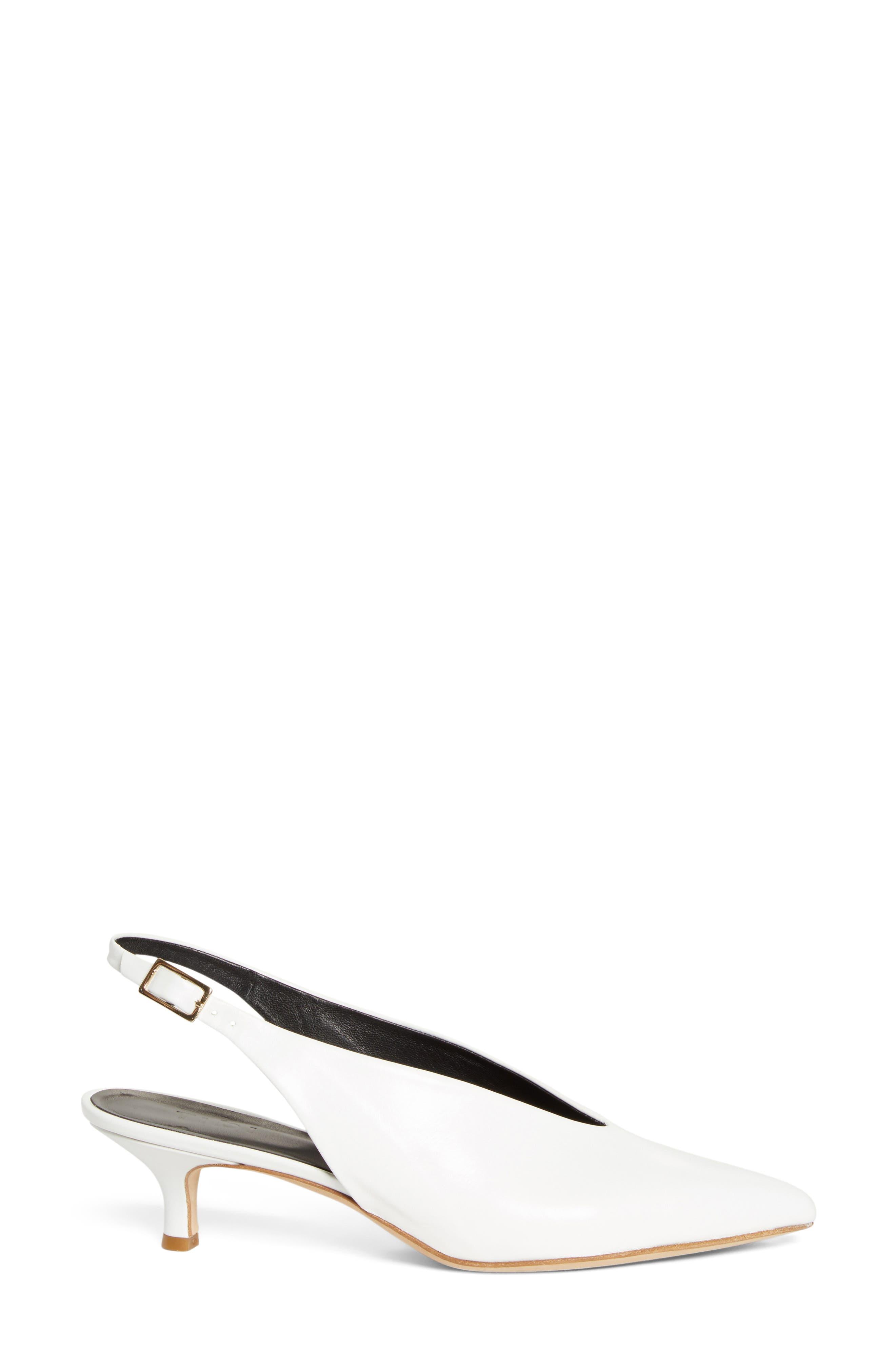 Lia Slingback Pump,                             Alternate thumbnail 3, color,                             Bright White