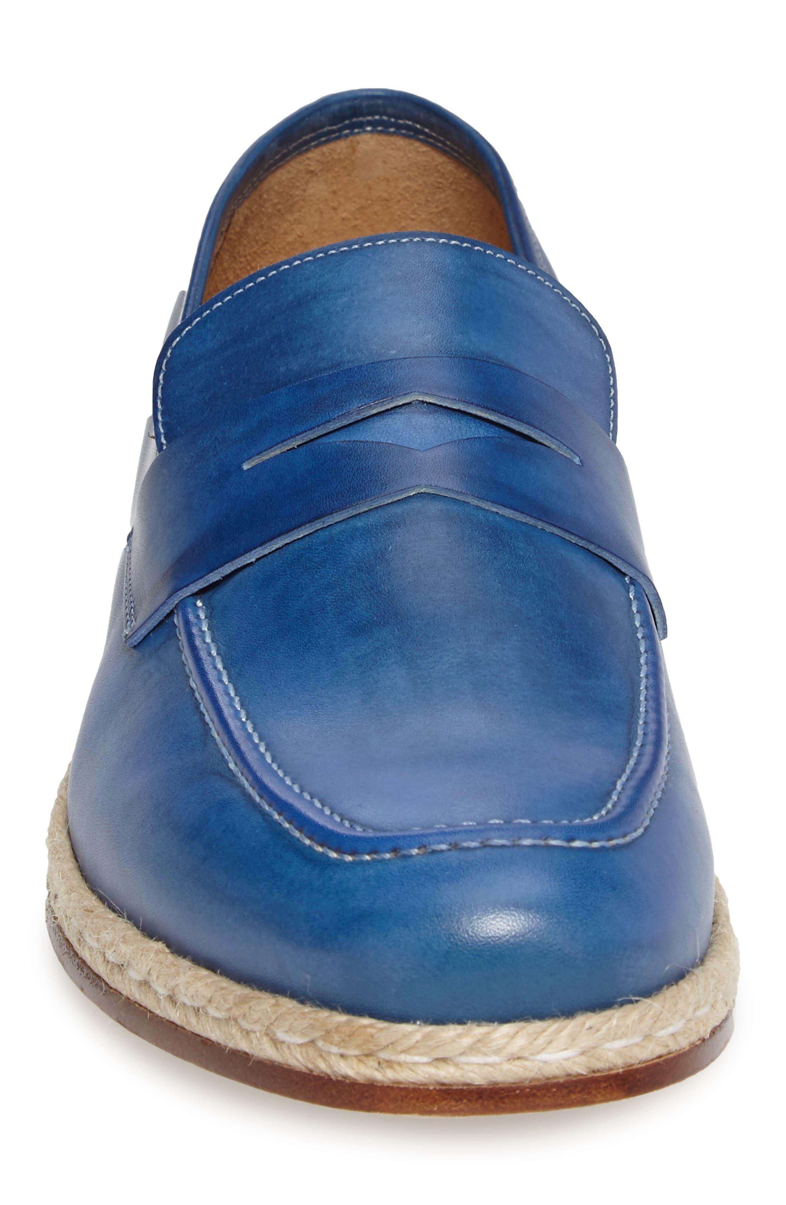 Battani Penny Loafer,                             Alternate thumbnail 4, color,                             Blue Leather