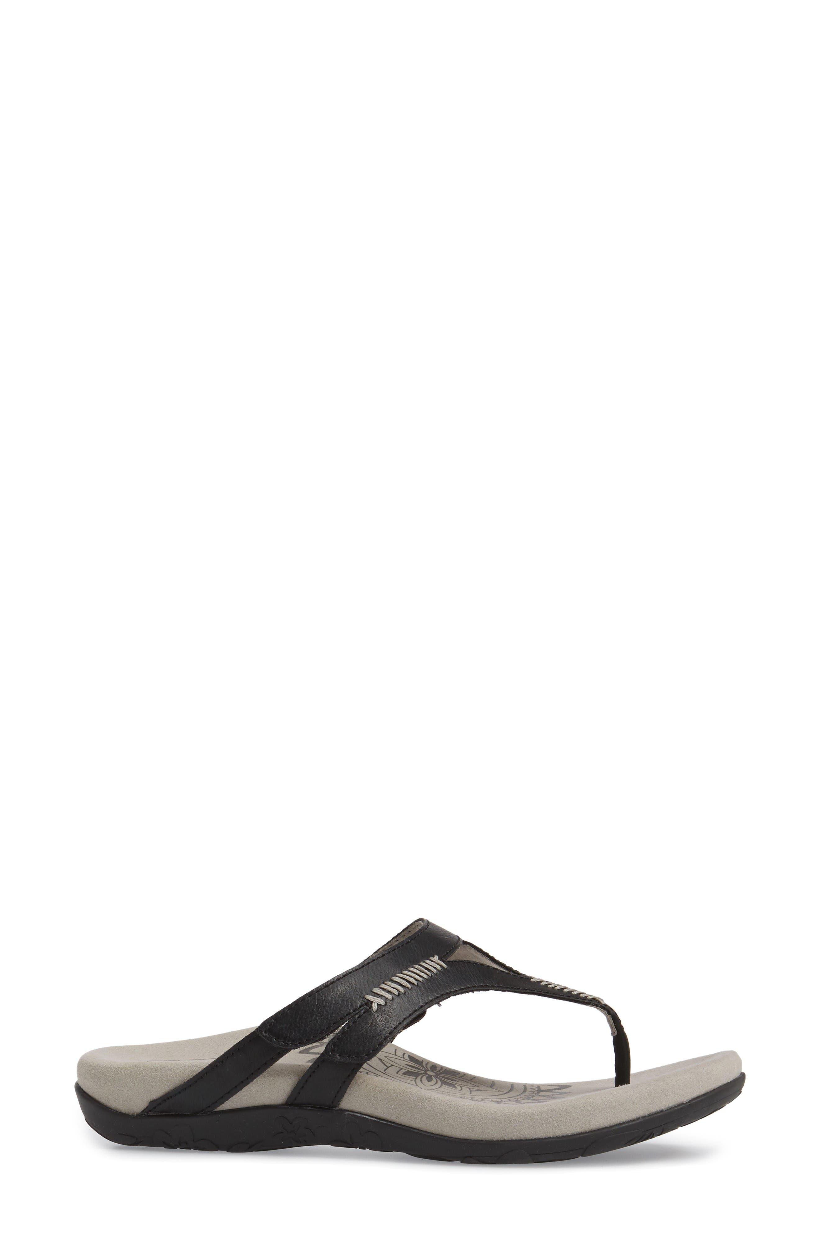 Celia Flip Flop,                             Alternate thumbnail 3, color,                             Black Leather