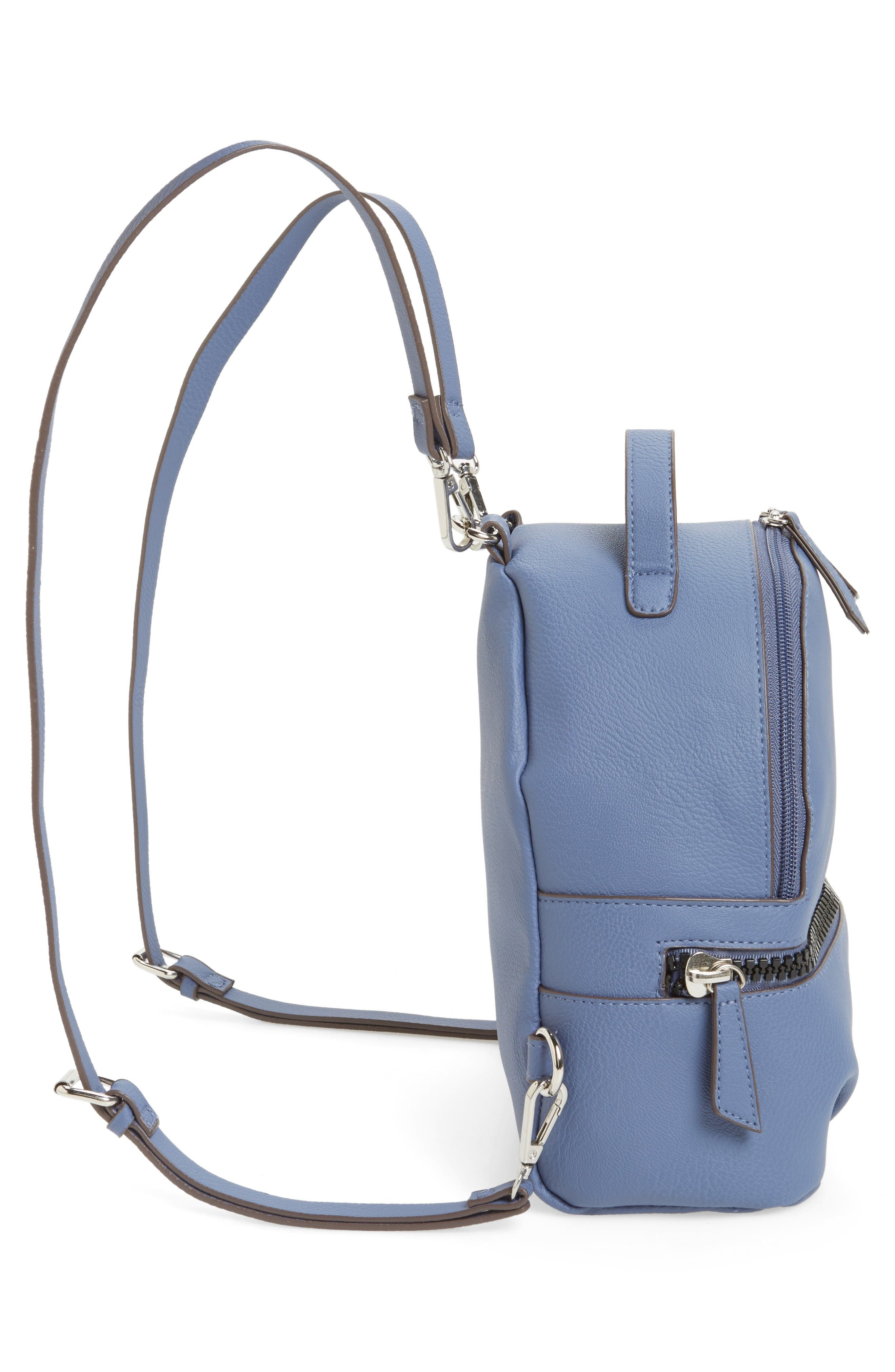 Textured Faux Leather Mini Backpack,                             Alternate thumbnail 5, color,                             Blue