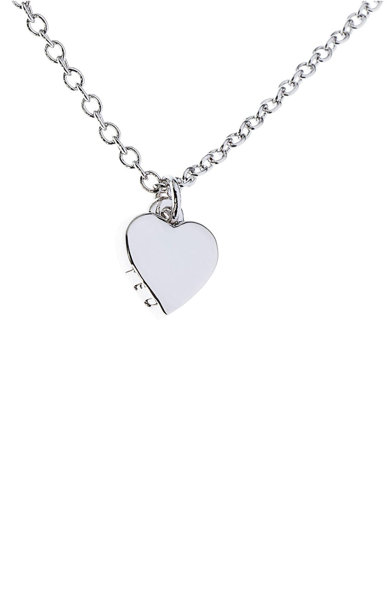 Mini Heart Pendant Necklace,                             Main thumbnail 1, color,                             Silver Color
