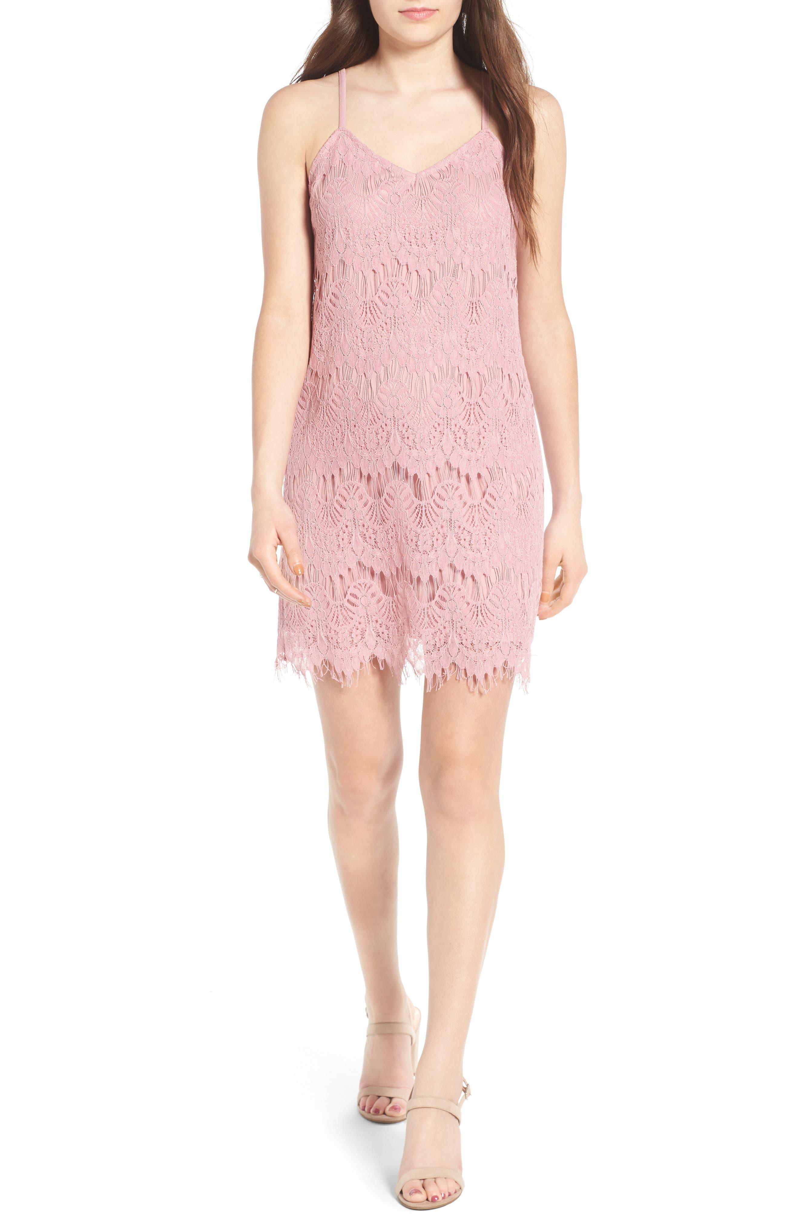 Lace Slipdress,                         Main,                         color, Lilac Lace