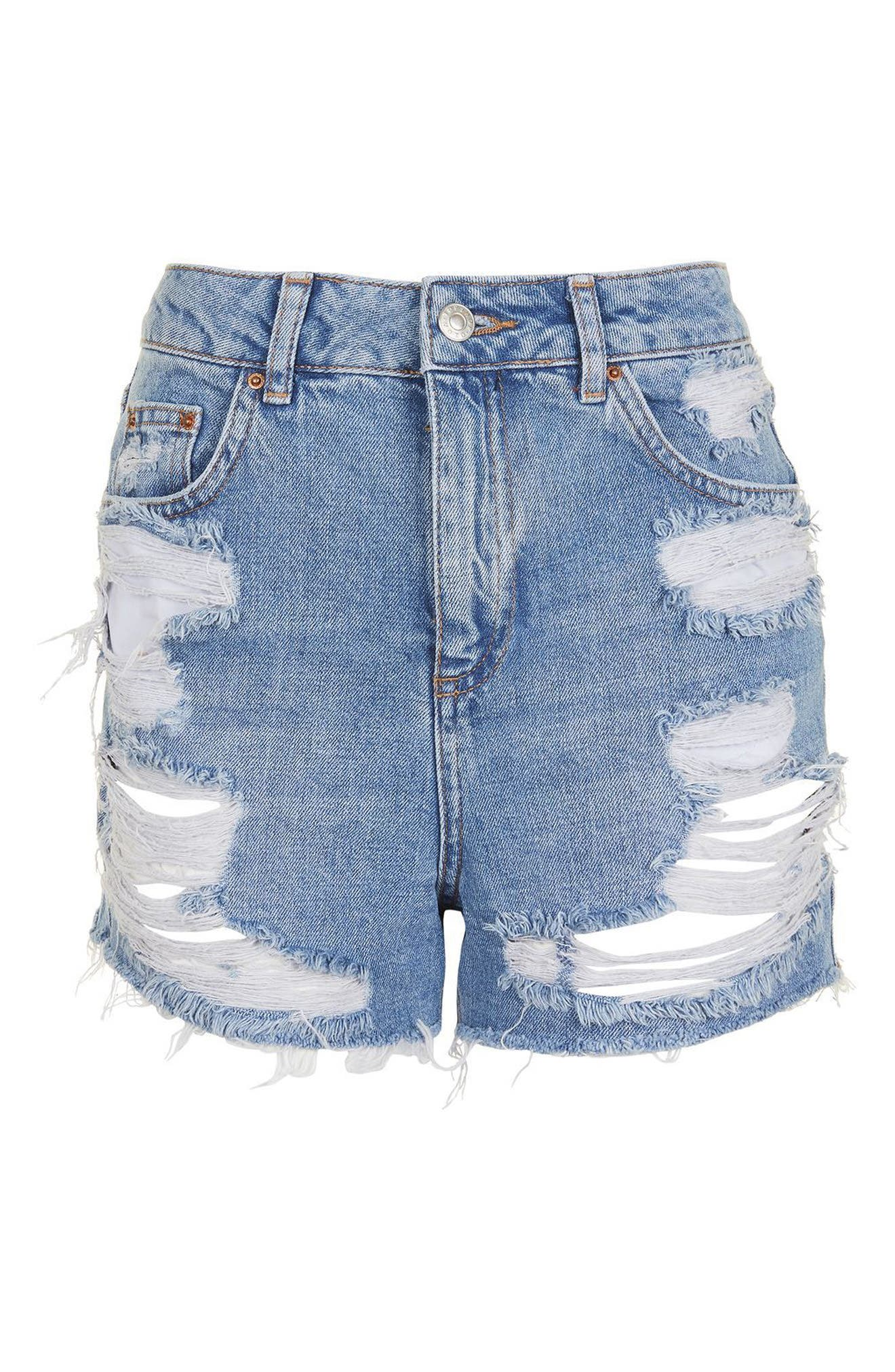 Ripped Mom Shorts,                             Alternate thumbnail 4, color,                             Midtone Blue