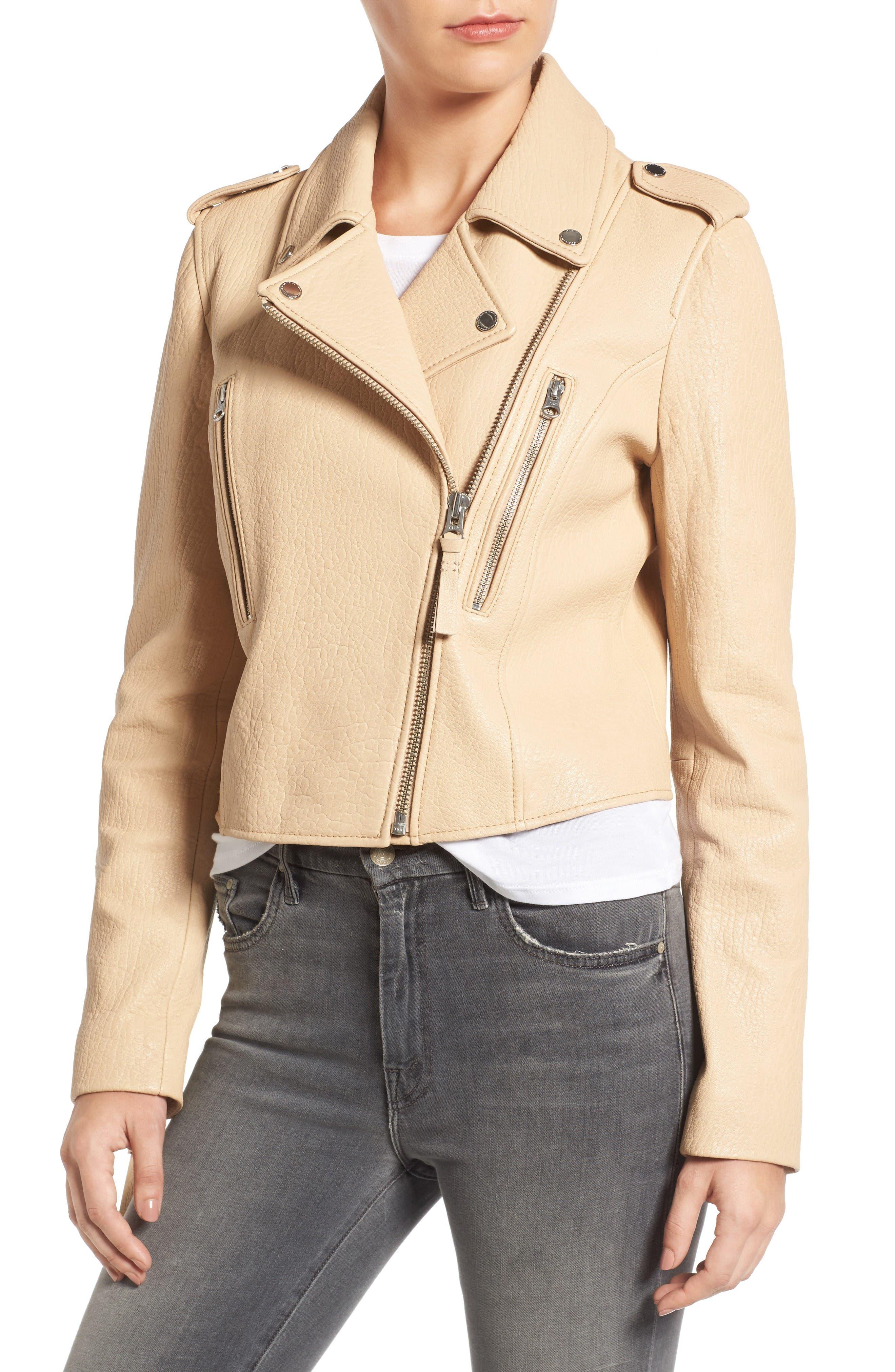 Leather Moto Jacket,                             Alternate thumbnail 4, color,                             Butter