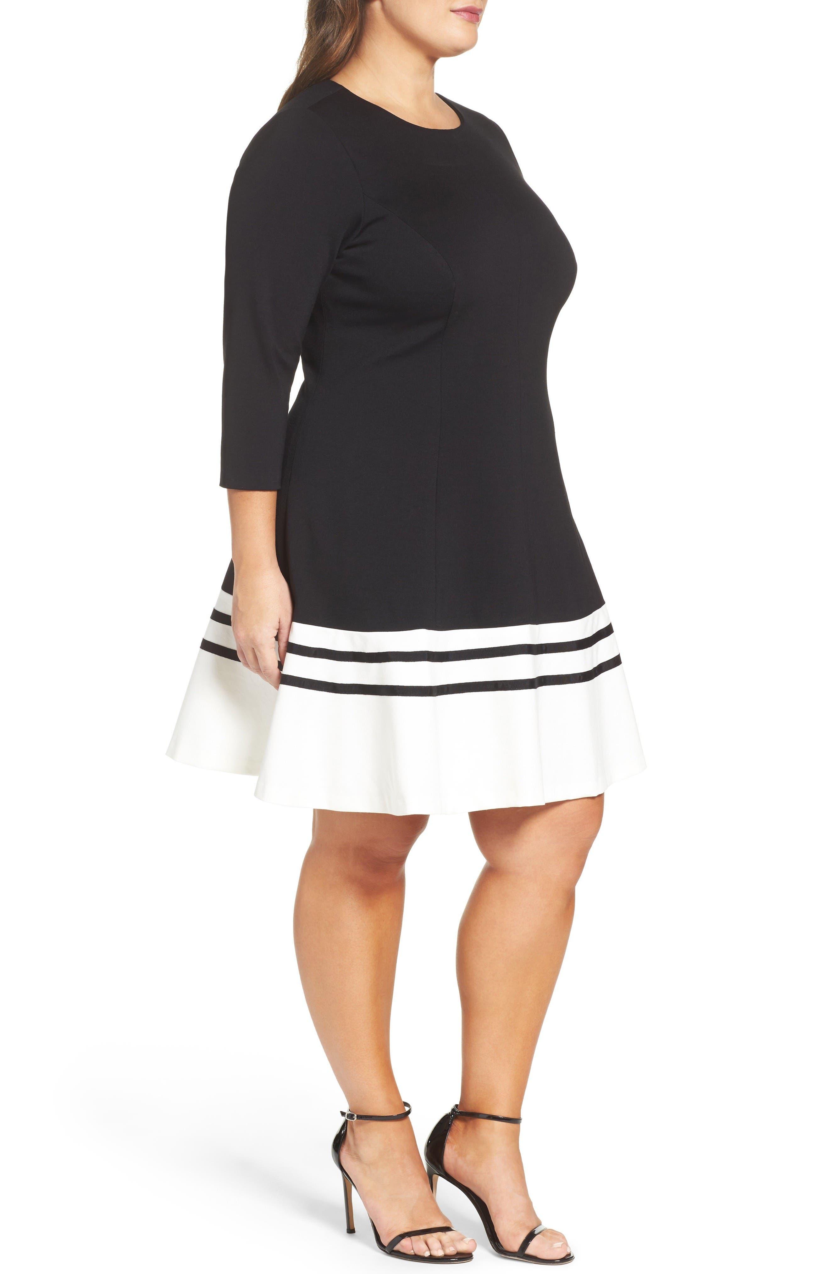 Ponte Fit & Flare Dress,                             Alternate thumbnail 3, color,                             Black/ Ivory